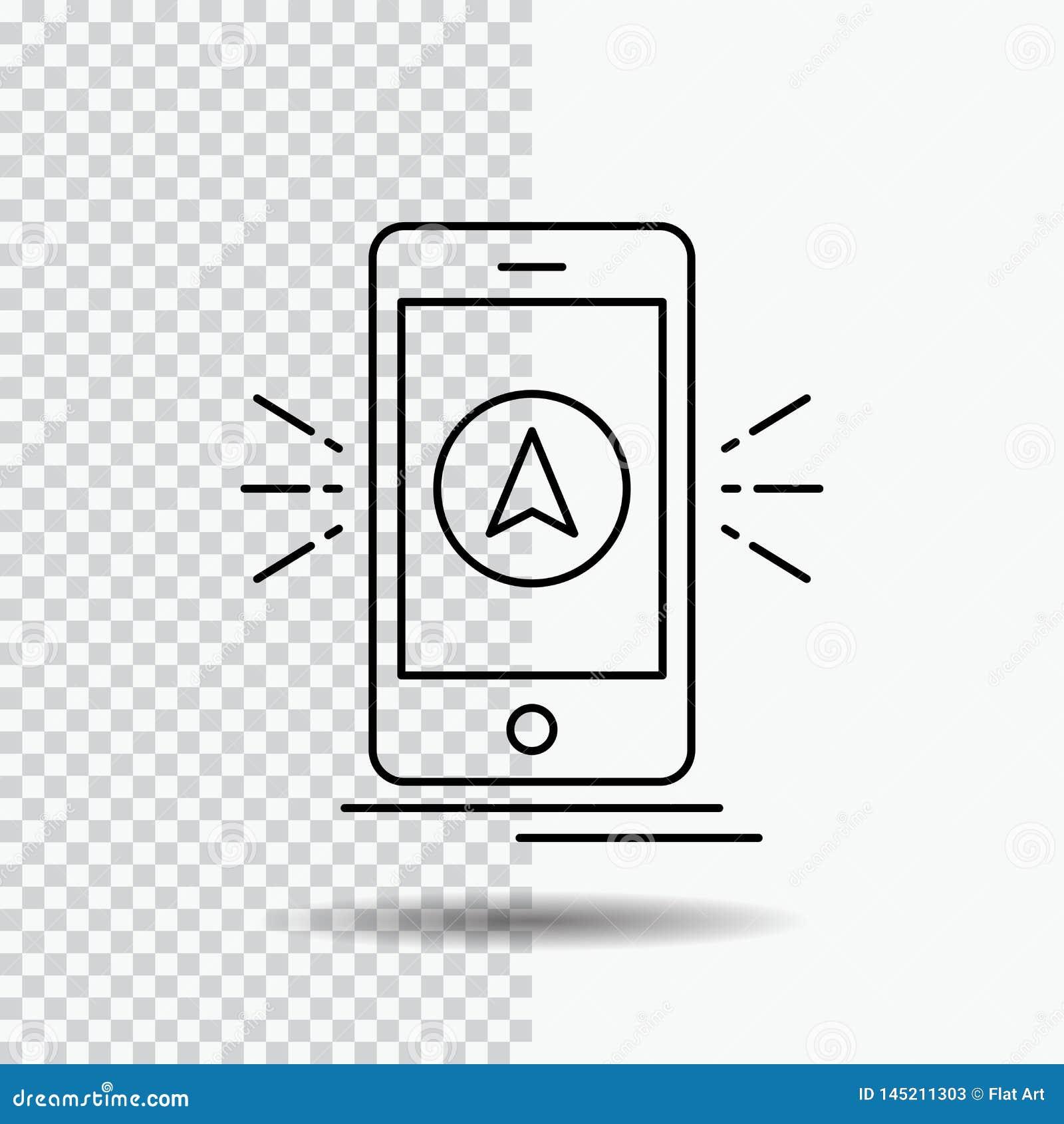 Navigering app som campar, gps, lägelinje symbol på genomskinlig bakgrund Svart symbolsvektorillustration