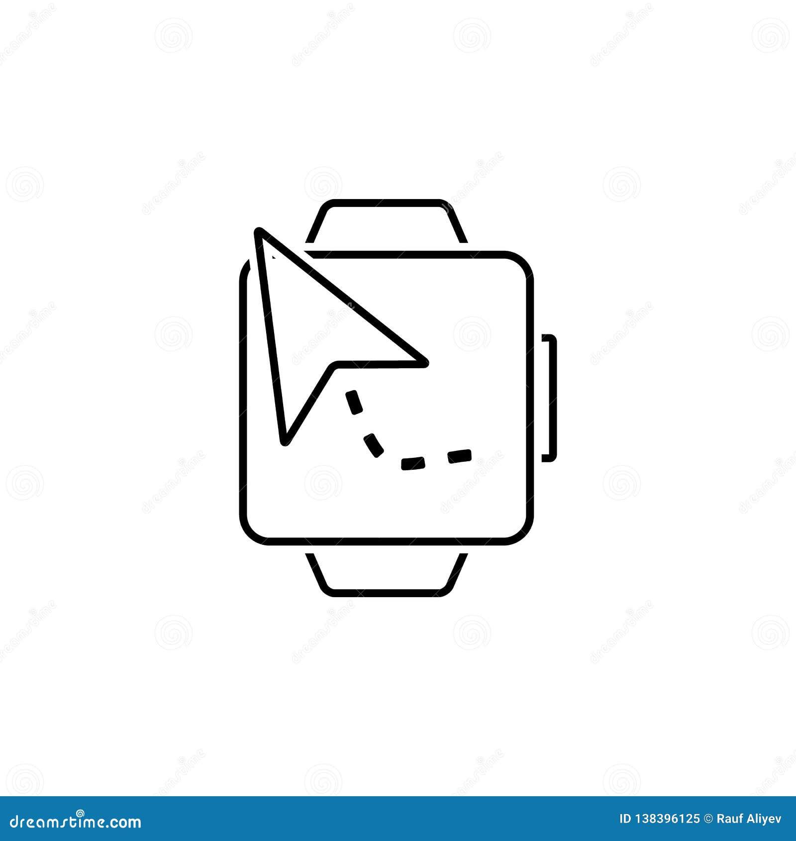 Navigering klockasymbol Beståndsdel av rengöringsduknavigeringsymbolen för mobila begrepps- och rengöringsdukapps Specificerad na