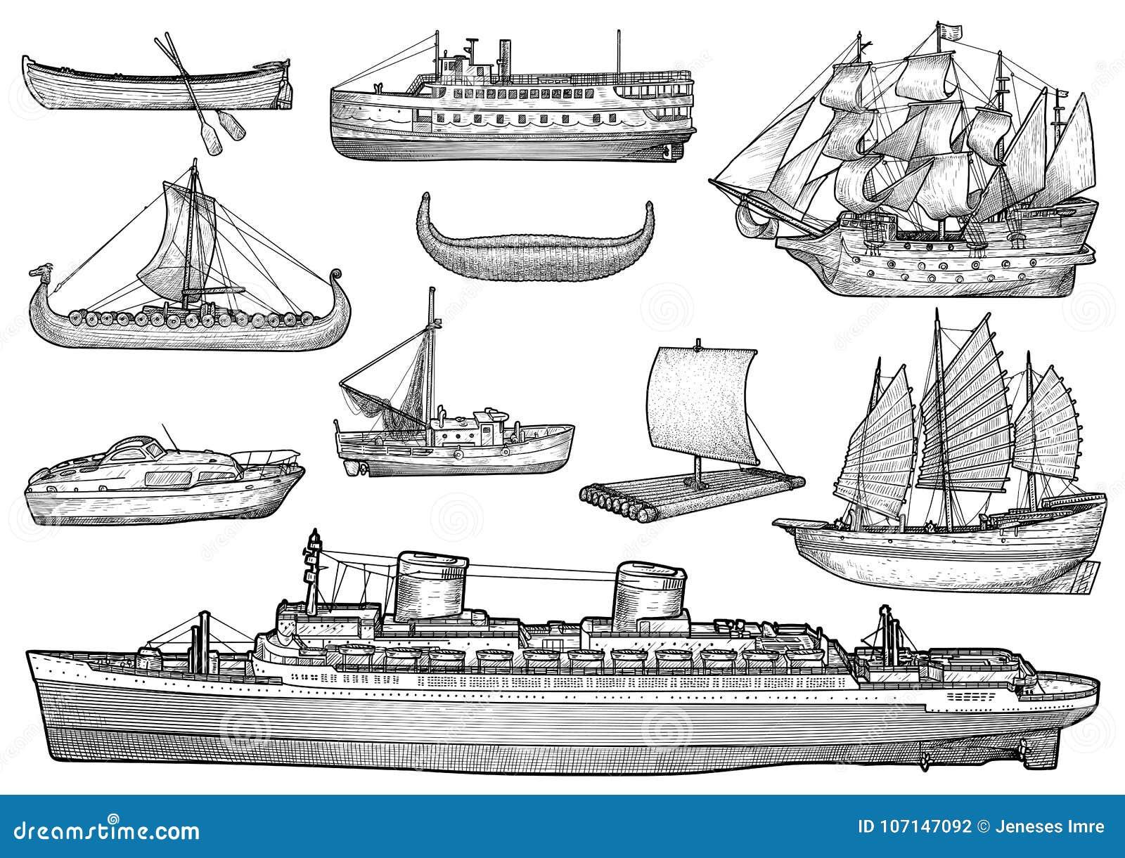 Navio, barco, coleção, ilustração, desenho, gravura, tinta, linha arte, vetor