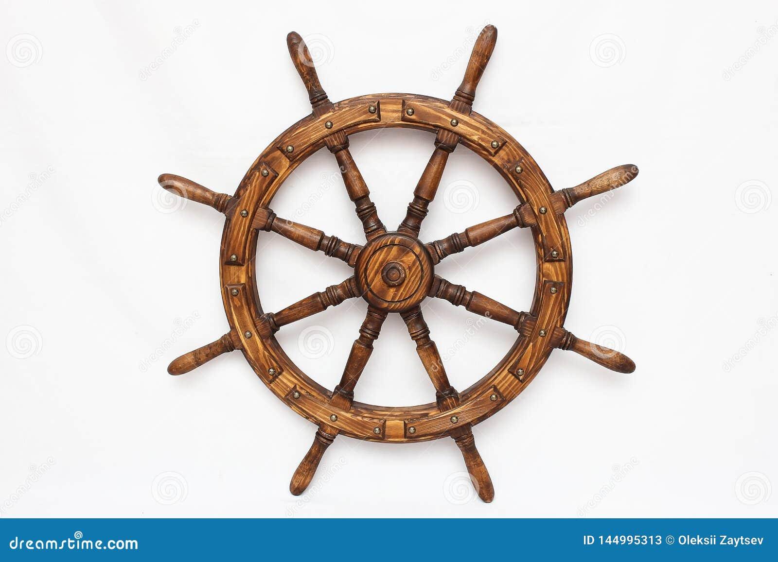 Navio de direção da roda de mão no fundo branco