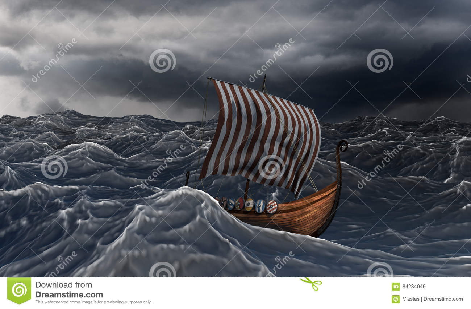 Navio de Viking no mar ondulado dramático na tempestade
