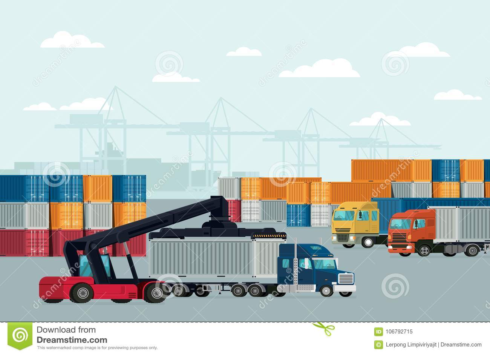 Navio do frete da carga do recipiente da logística para a exportação da importação Vetor