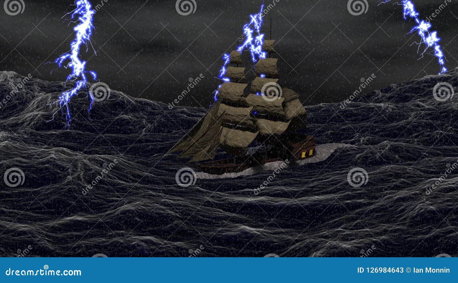 Navio em um mar tormentoso