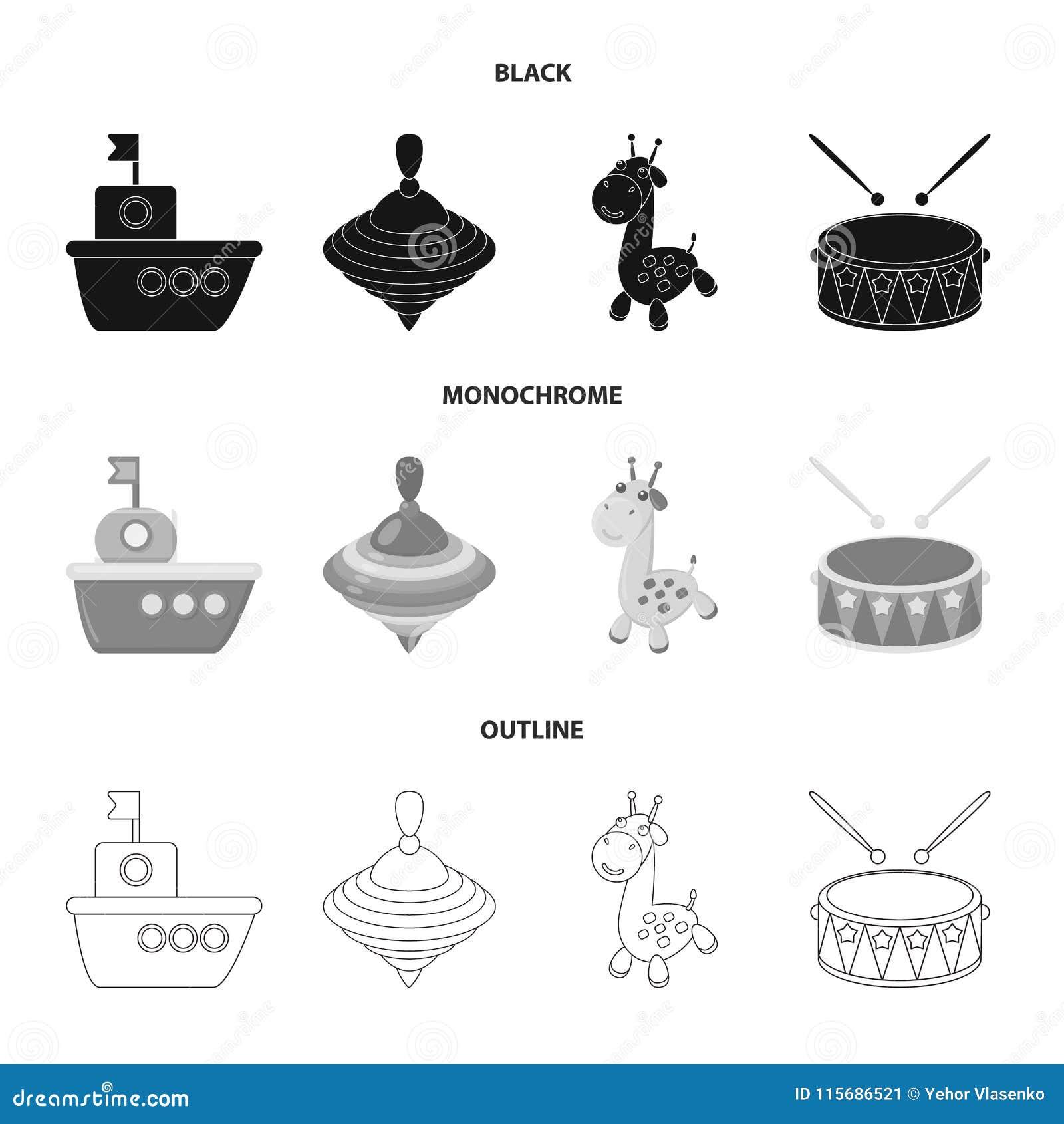 Navio, yule, girafa, cilindro Os brinquedos ajustaram ícones da coleção em preto, monocromático, ilustração do estoque do símbolo