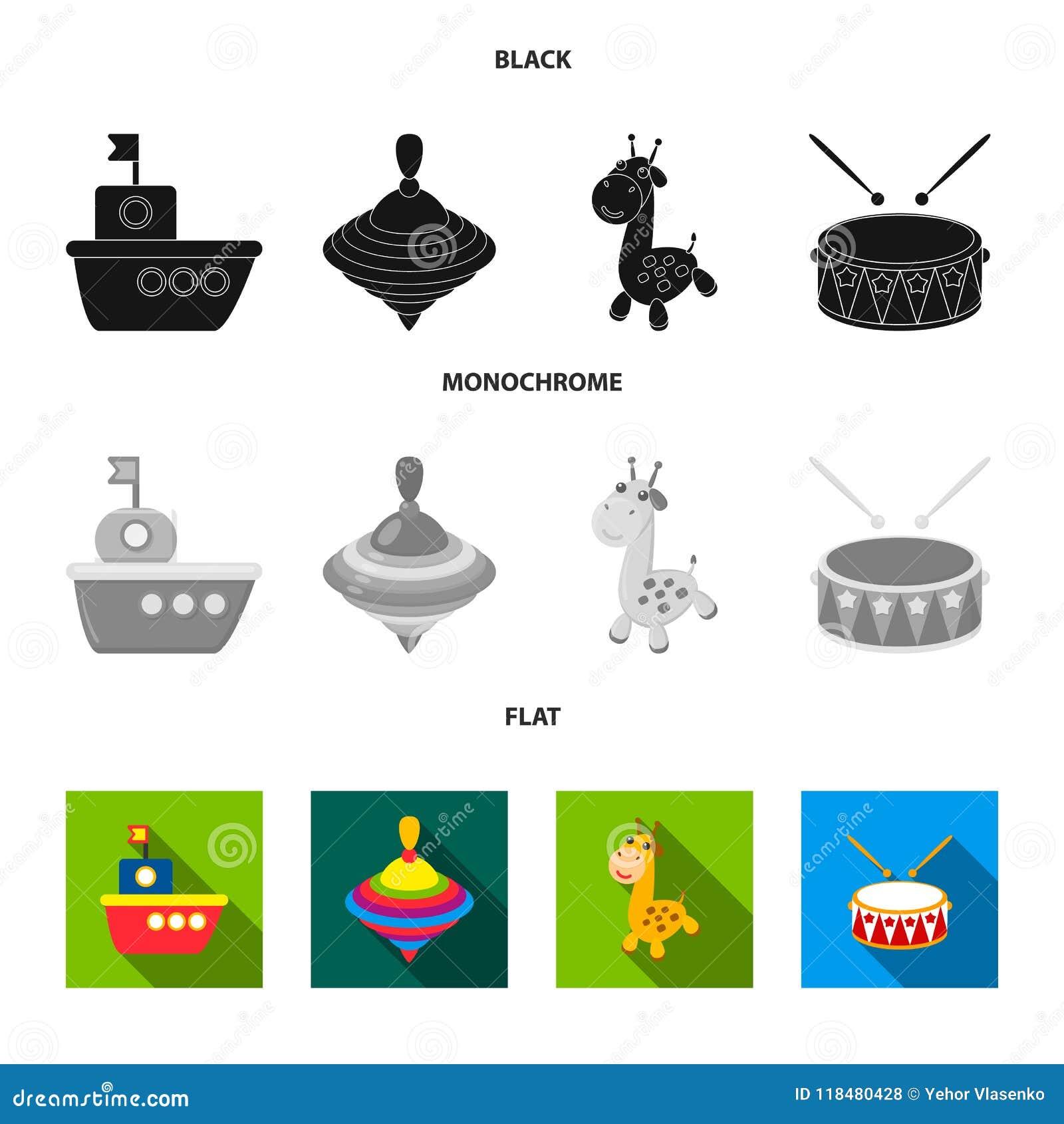 Navio, yule, girafa, cilindro Os brinquedos ajustaram ícones da coleção na ilustração preta, lisa, monocromática do estoque do sí
