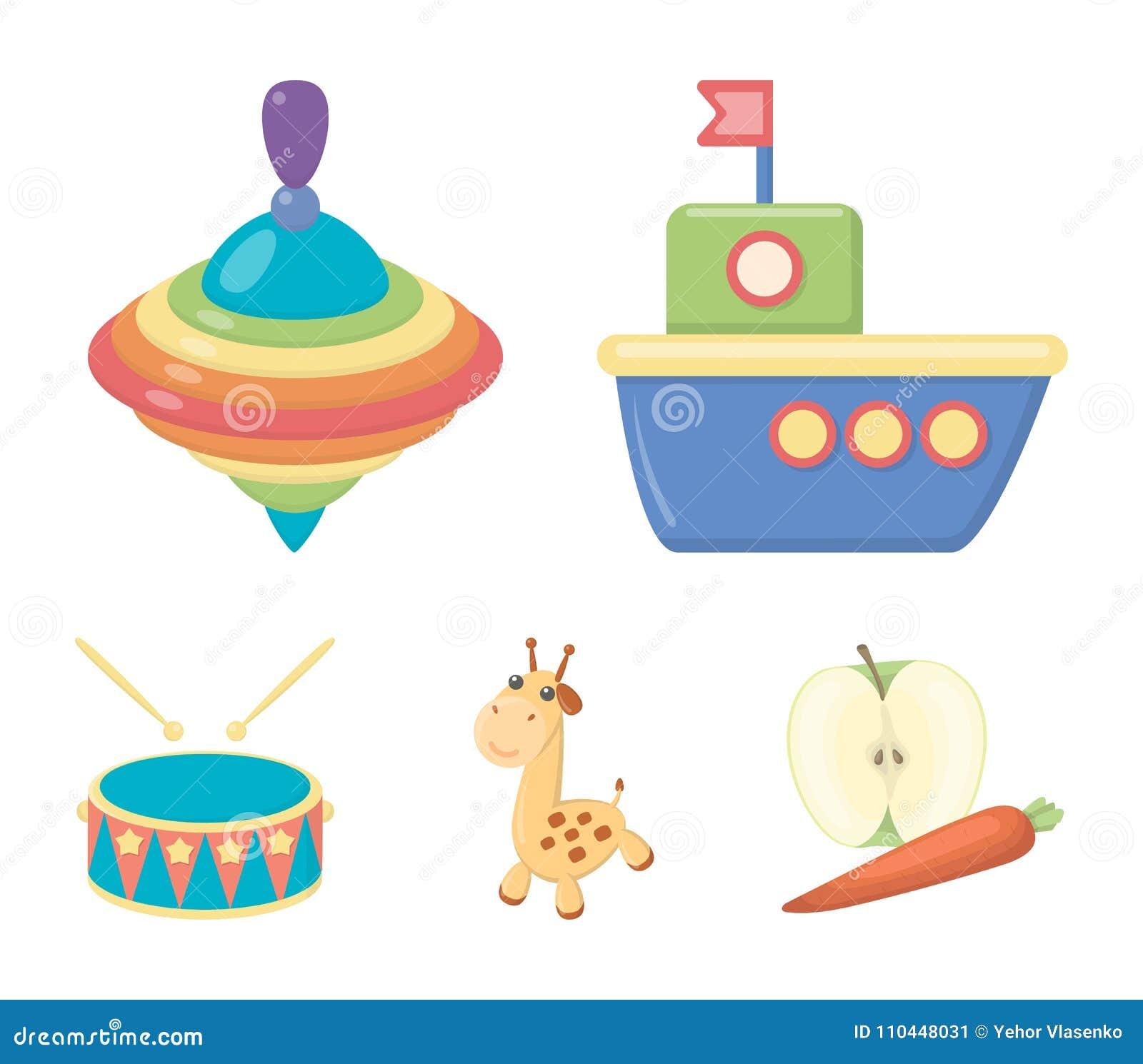 Navio, yule, girafa, cilindro Os brinquedos ajustaram ícones da coleção na Web da ilustração do estoque do símbolo do vetor do es