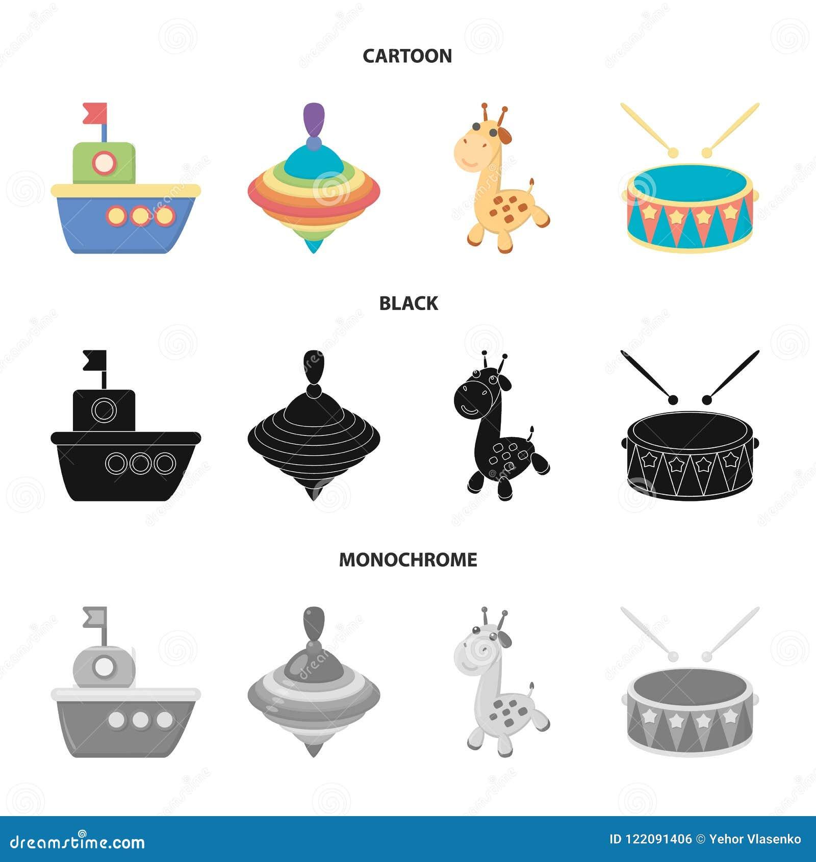 Navio, yule, girafa, cilindro Os brinquedos ajustaram ícones da coleção nos desenhos animados, preto, ilustração monocromática do