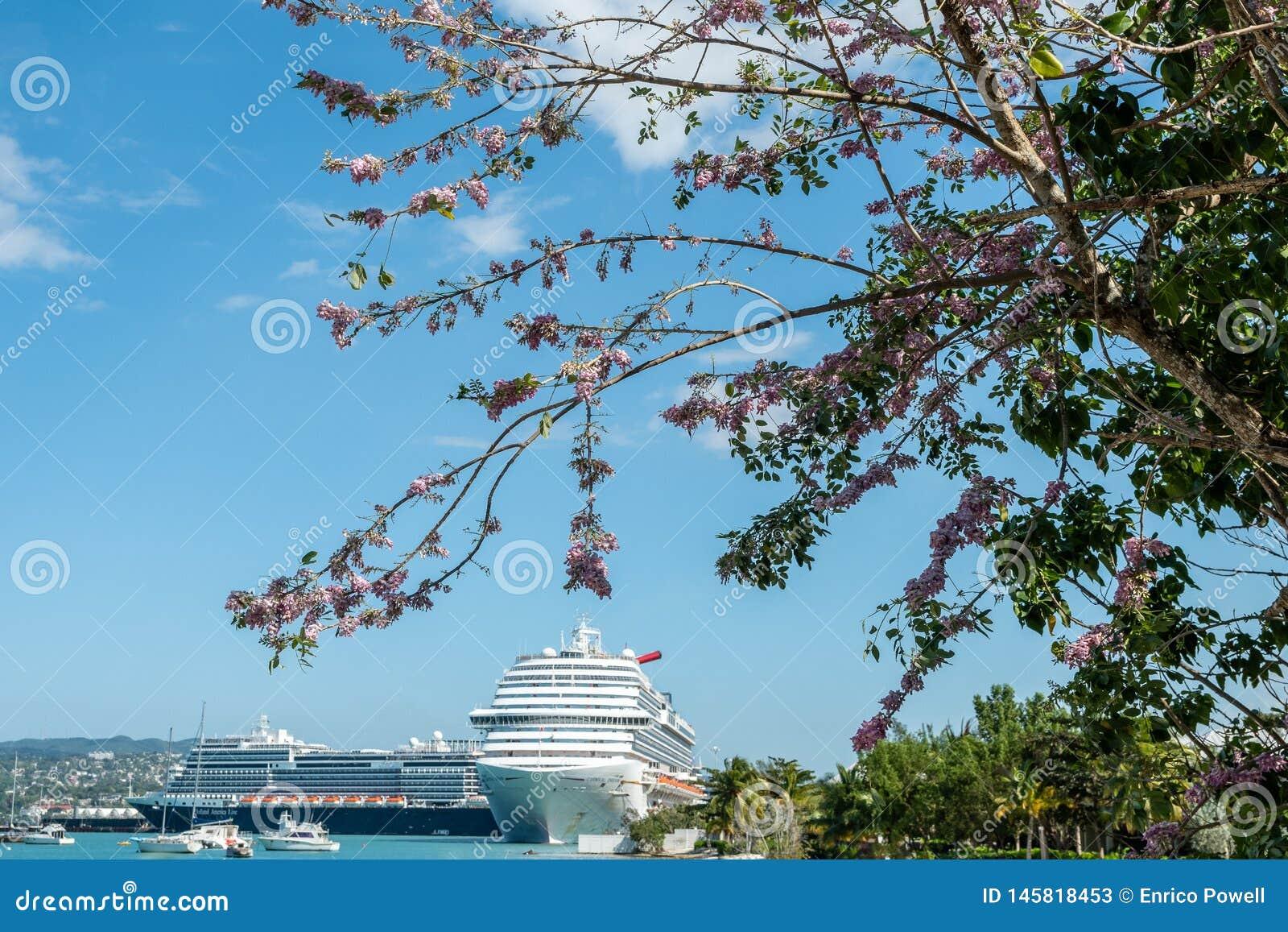 Navios de cruzeiros de Carnival Dream e de Holland America Nieuw Statendam entrados em Jamaica