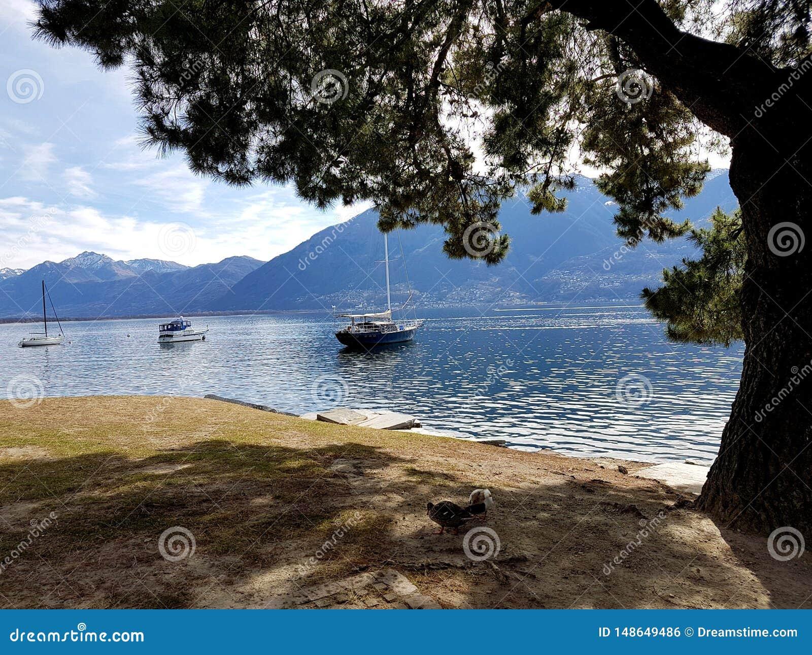 Navios no lago Maggiore em mar?o