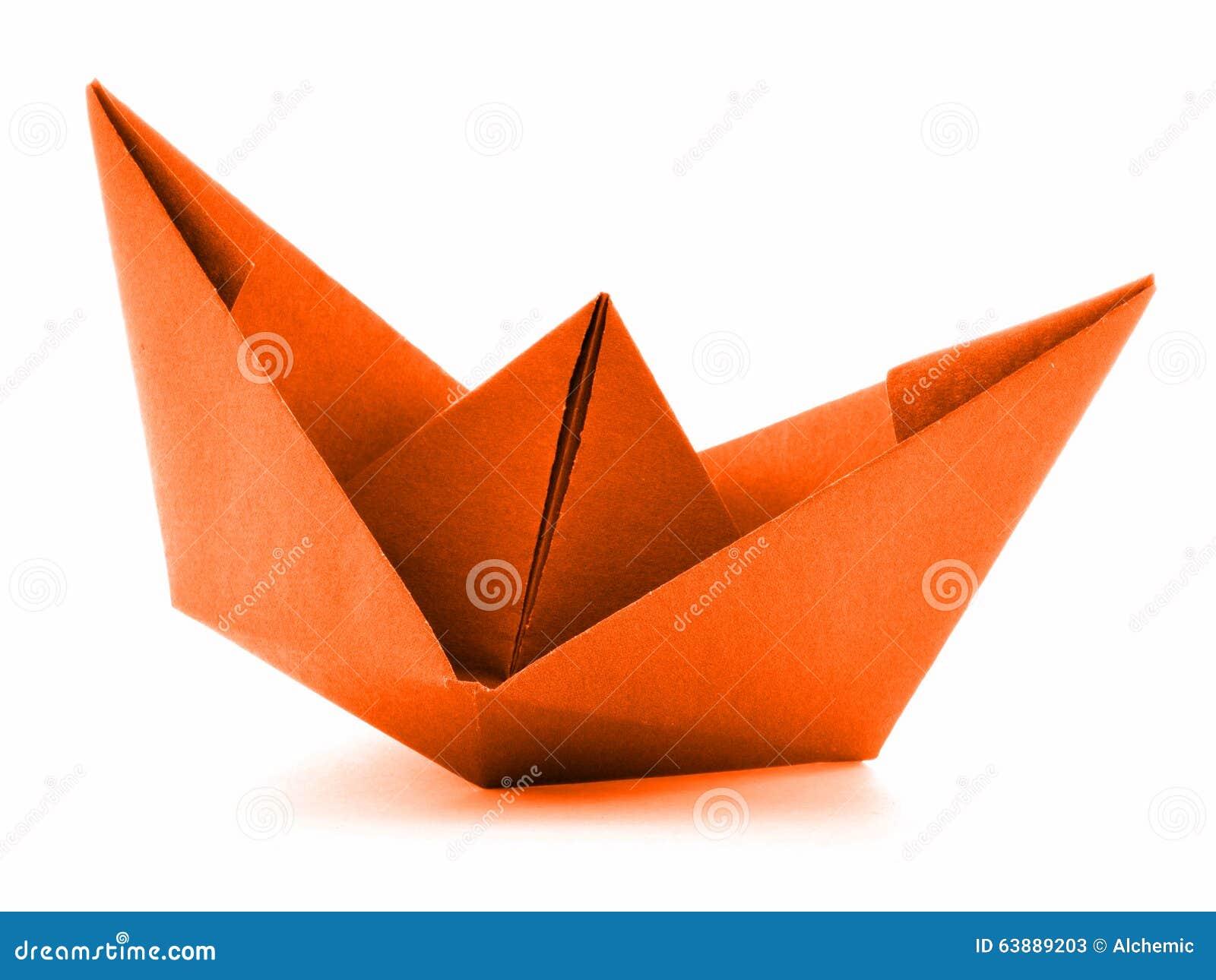 navire de papier orange bateau voile d 39 origami d. Black Bedroom Furniture Sets. Home Design Ideas
