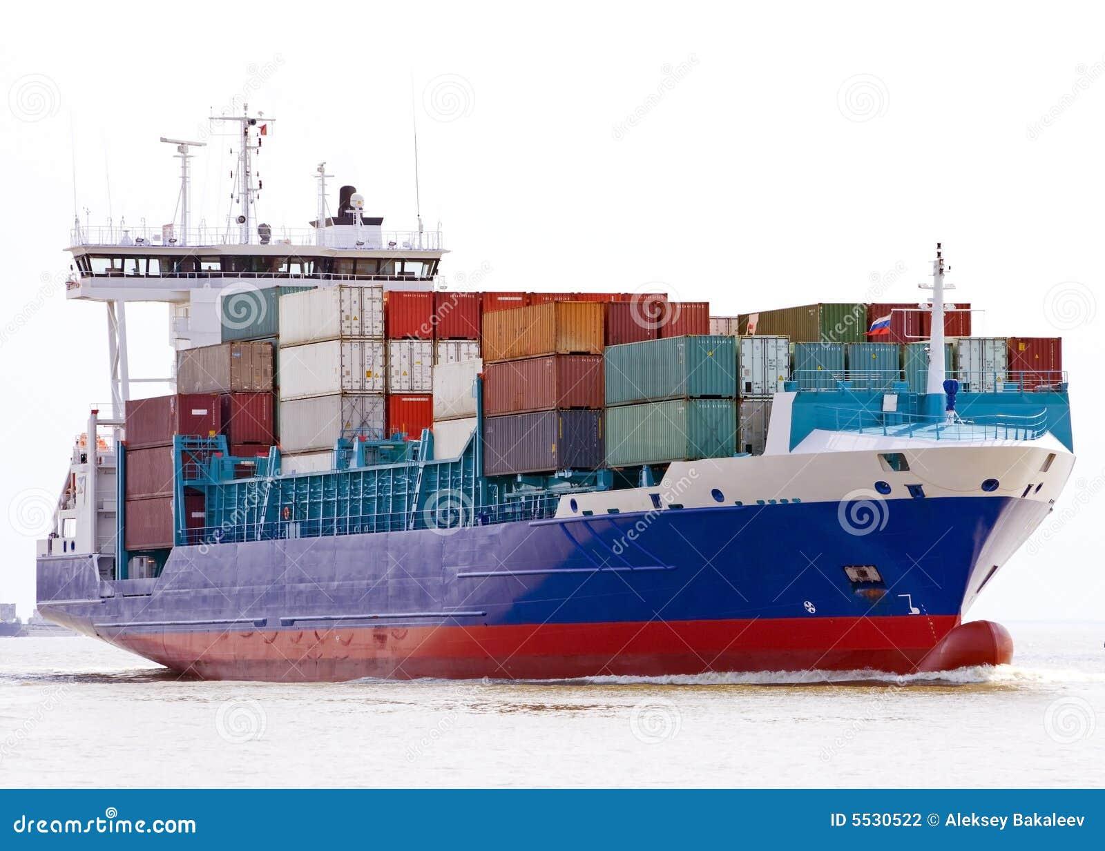 Navire porte conteneurs photographie stock image 5530522 for Porte conteneur