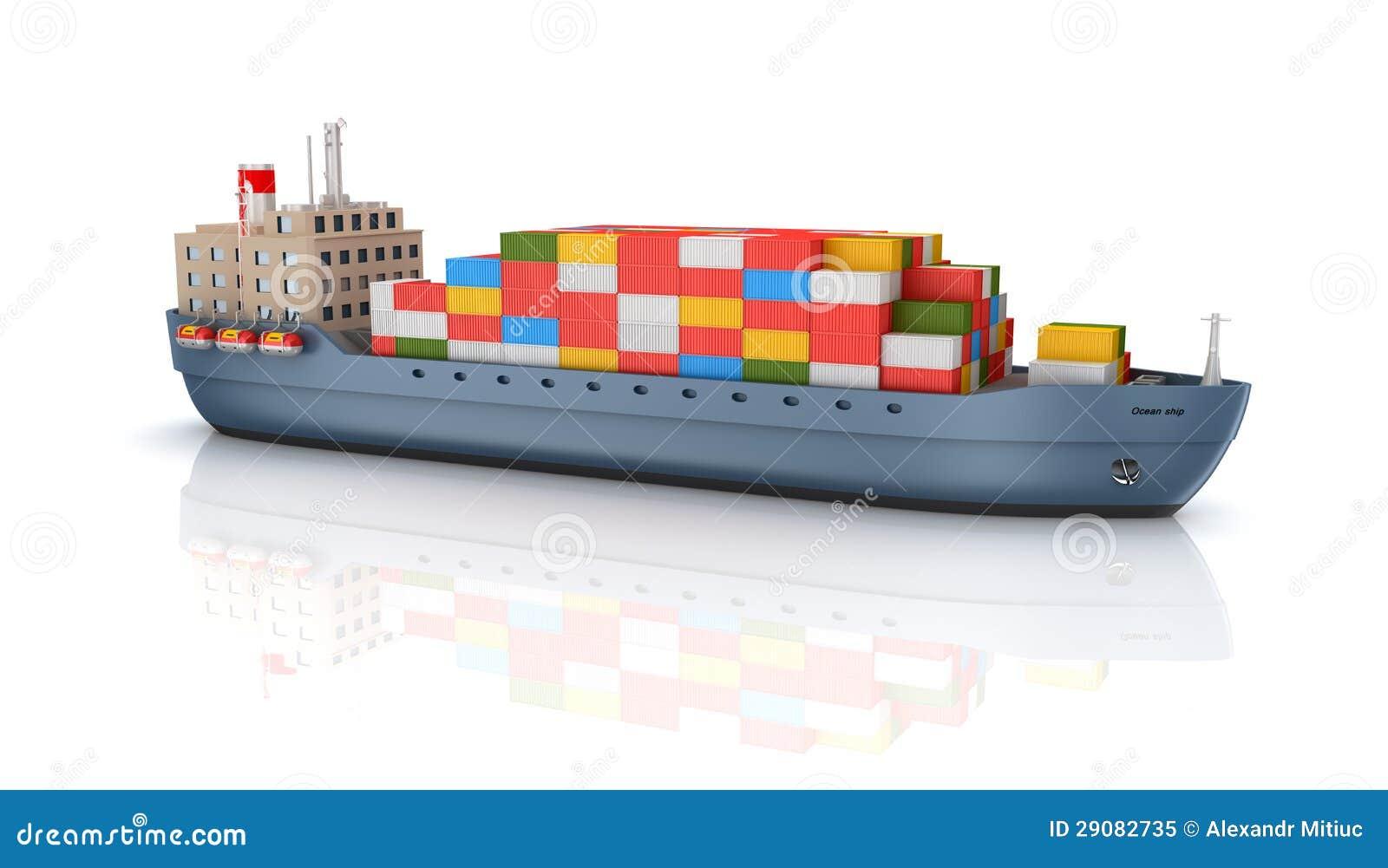 Navire porte conteneurs de cargaison photo libre de droits for Porte conteneur