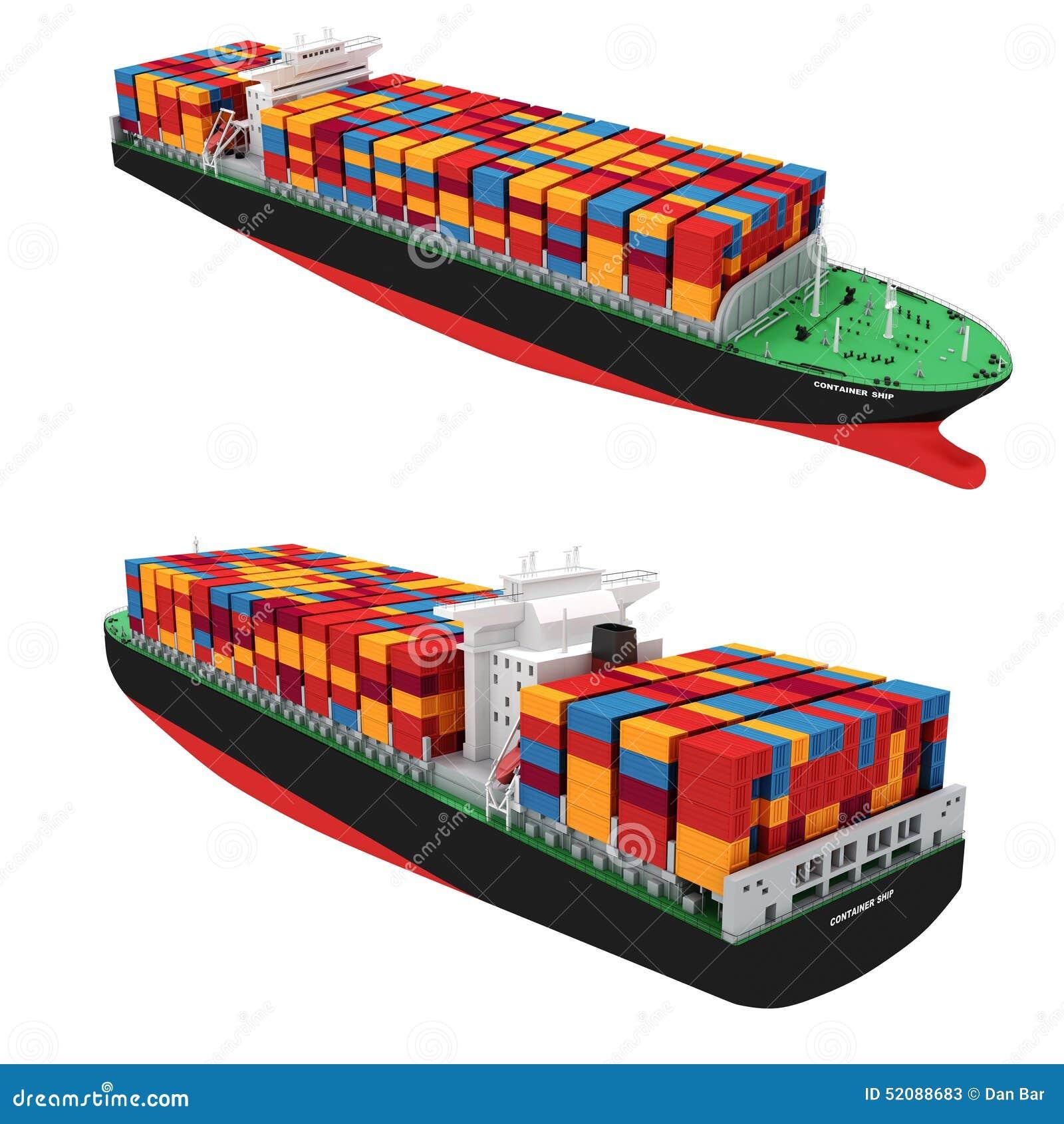 Navire porte-conteneurs de la cargaison 3d