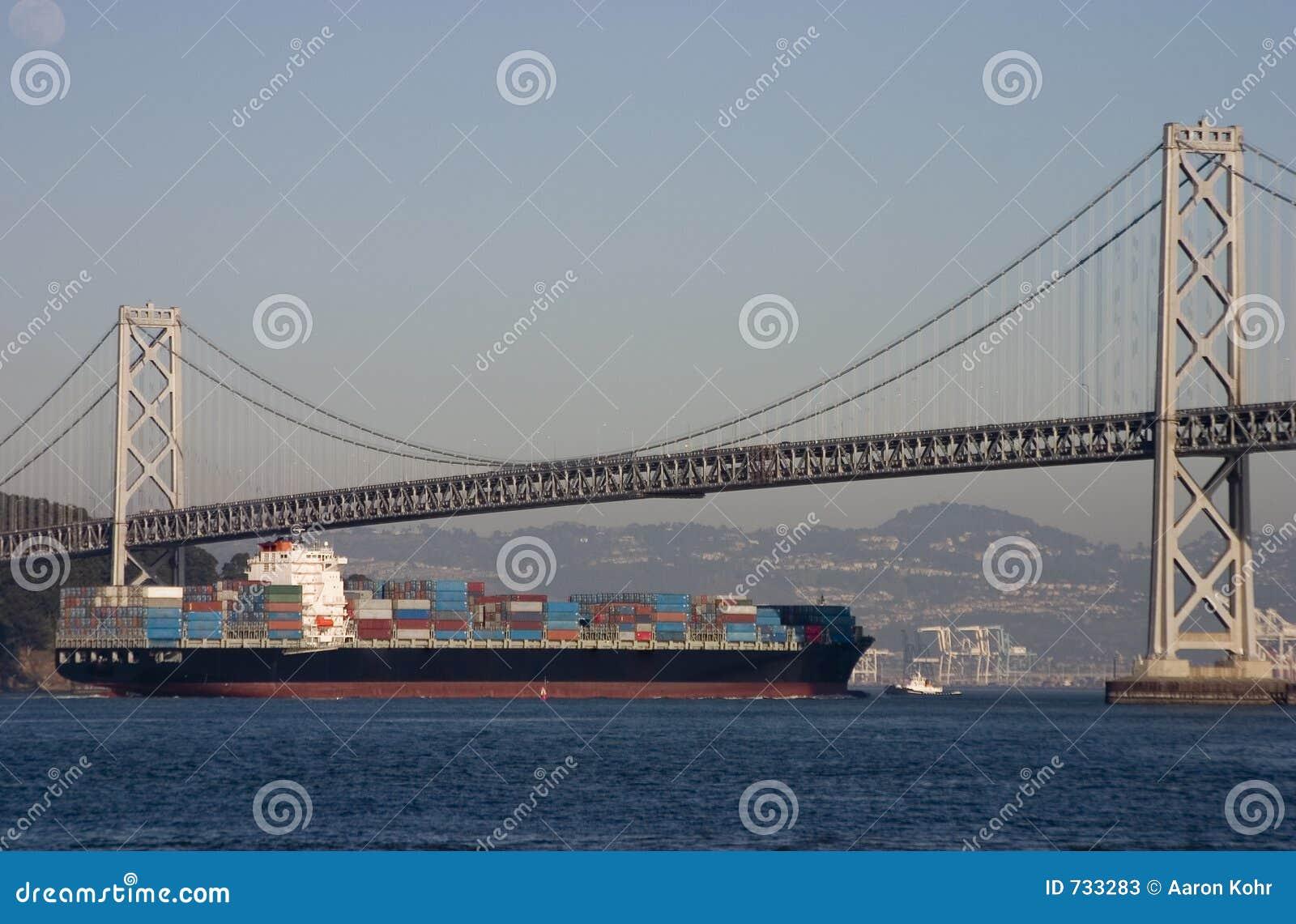 Navire porte-conteneurs sous la passerelle