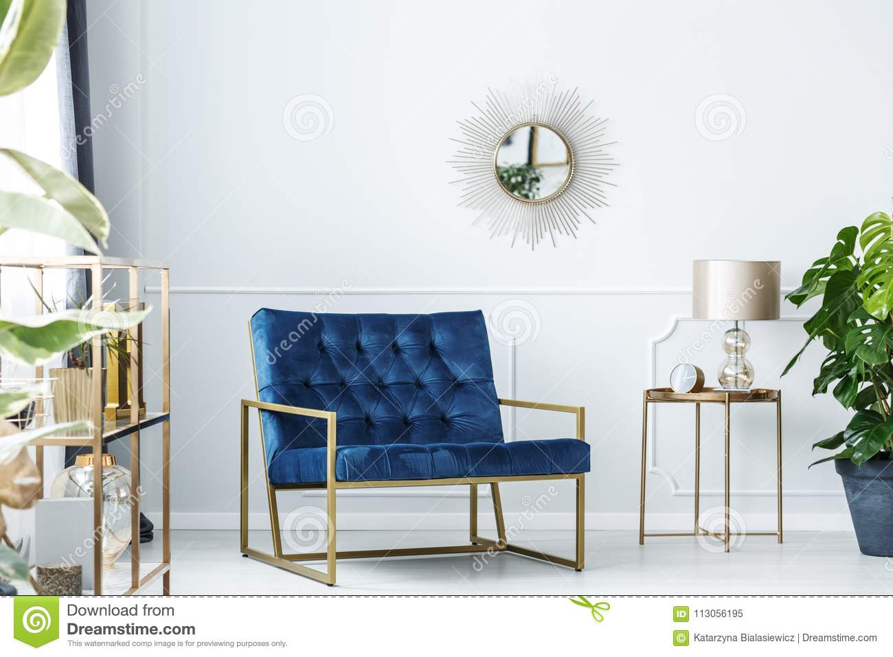 Navy blue living room stock image. Image of glamour - 113056195