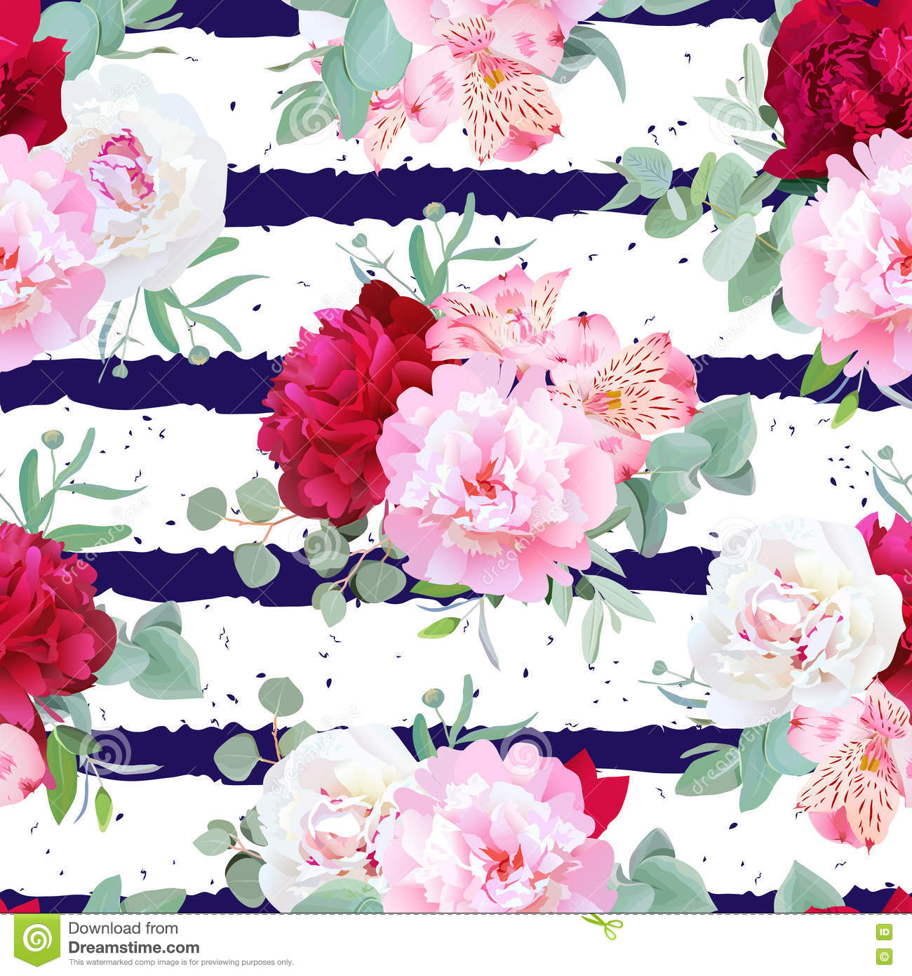 Navy Blue Striped Floral Seamless Vector Print With Peony