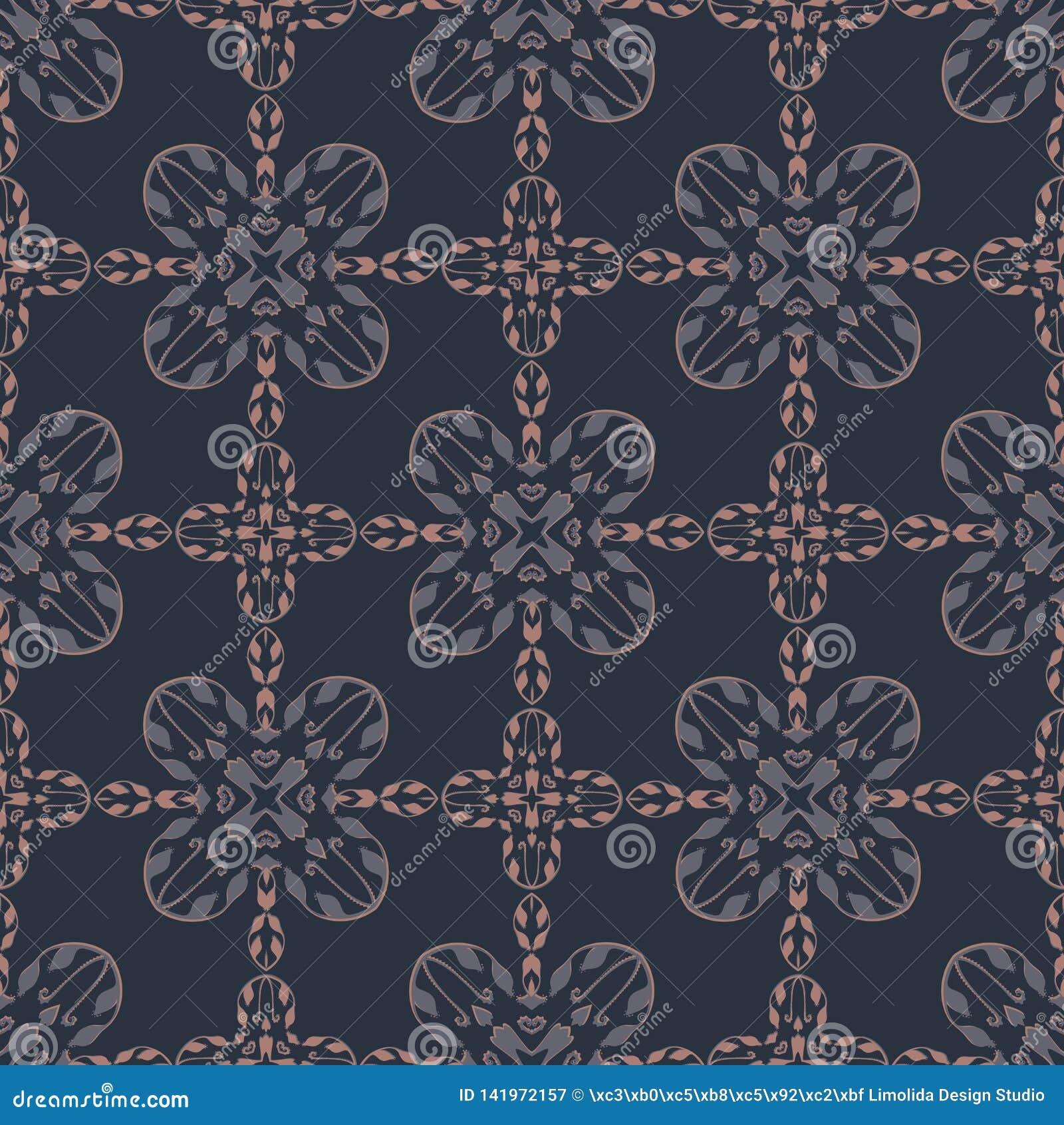 Navy Blue Tile Damask Seamless Vector Pattern, Hand Drawn Floral Ornament Illustration