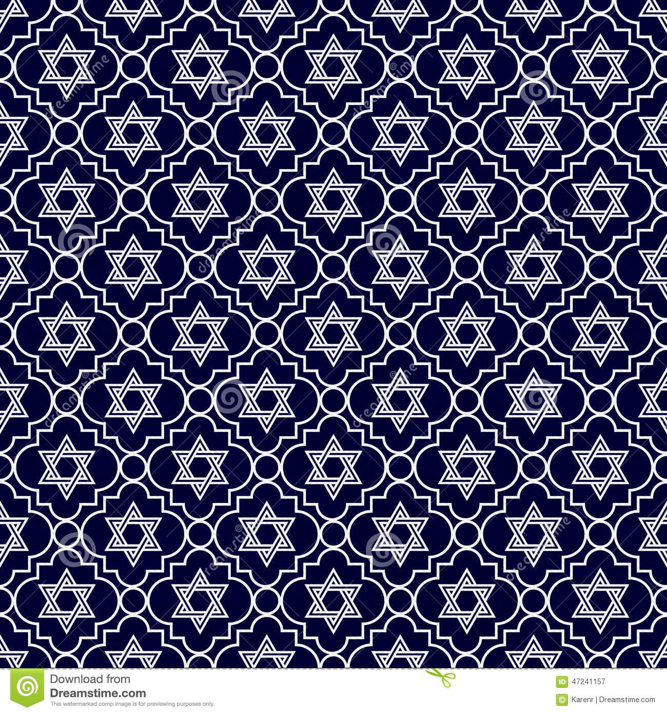 navy blue and white star of david repeat pattern