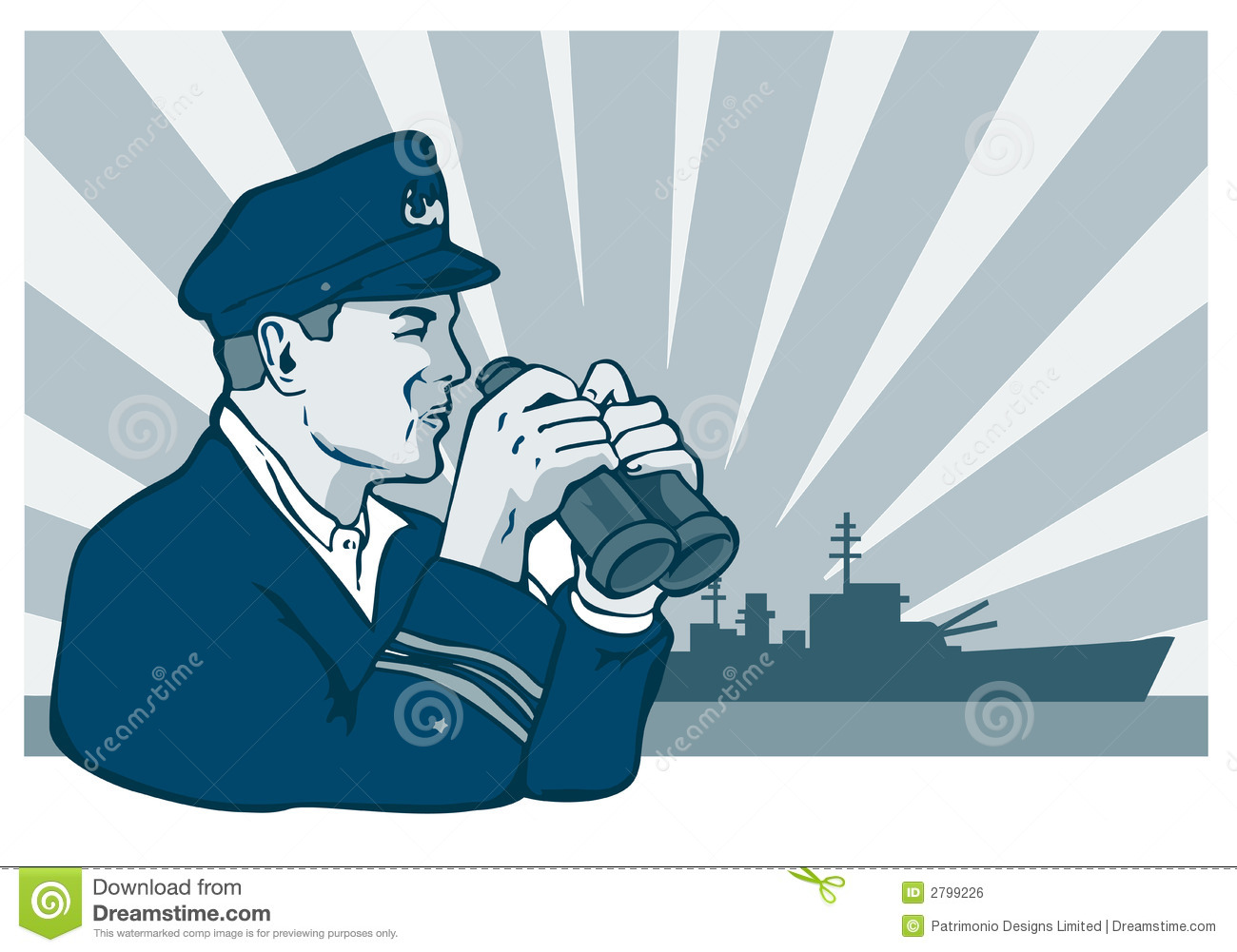 Navy Captain With Binoculars Stock Illustration - Image ...