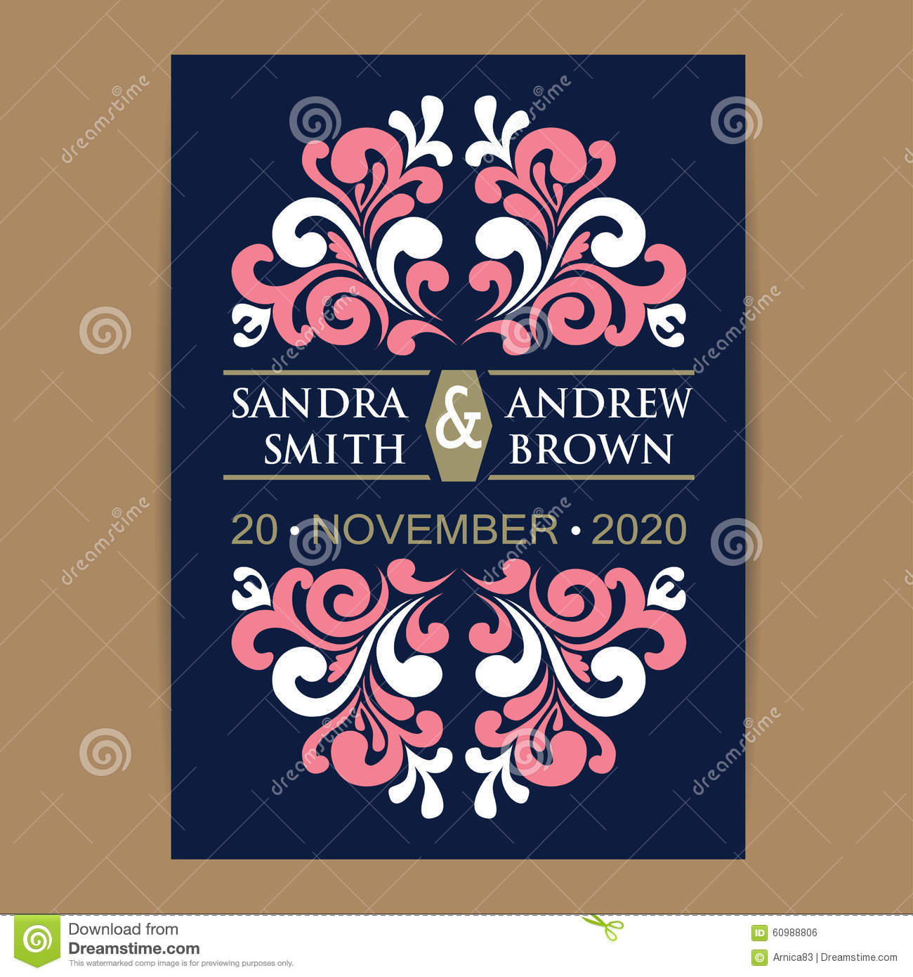 Announcement Card Coral Invitation Navy Wedding ...