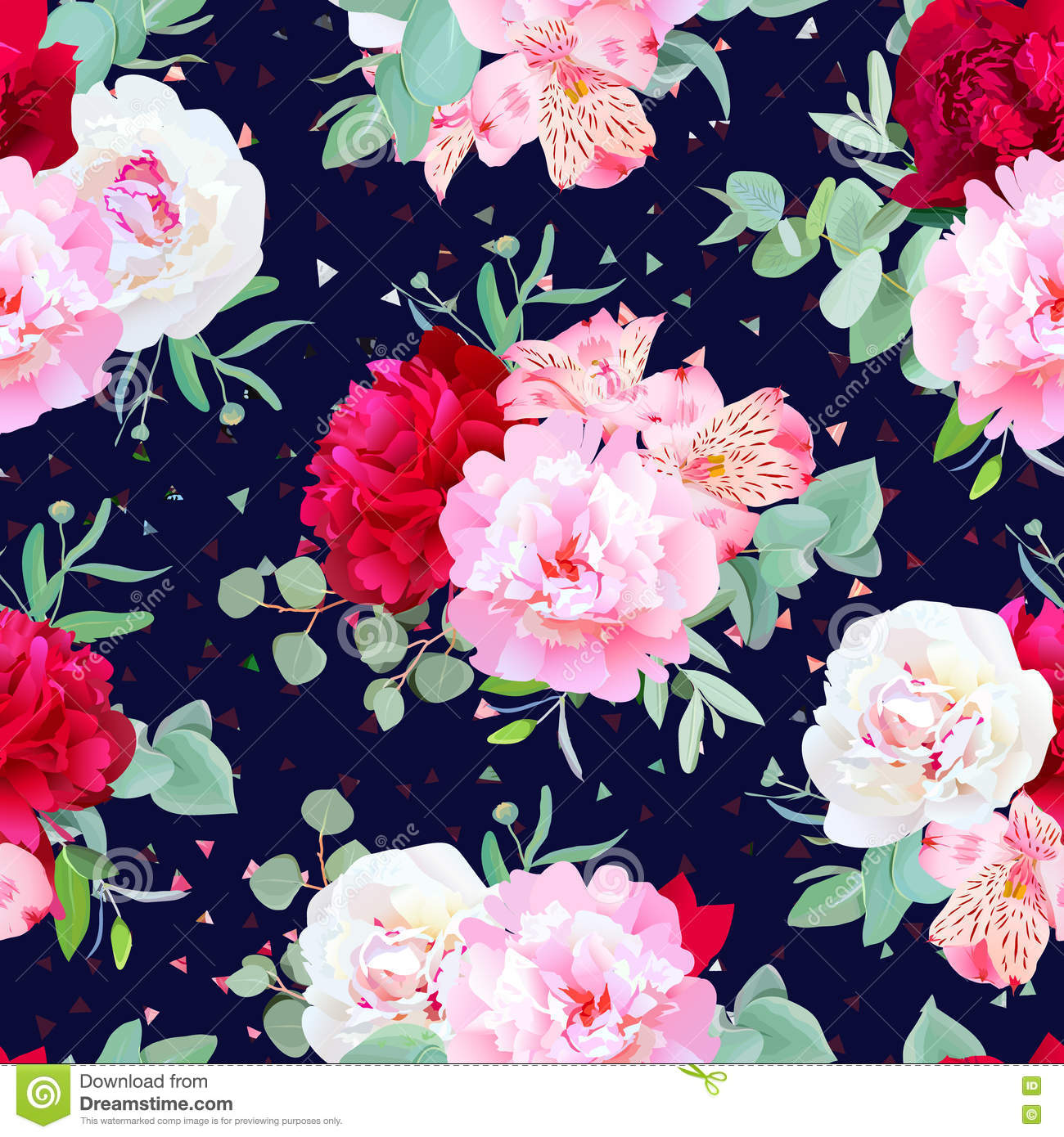 Navy Floral Seamless Vector Print With Burgundy Red And Pink Peony
