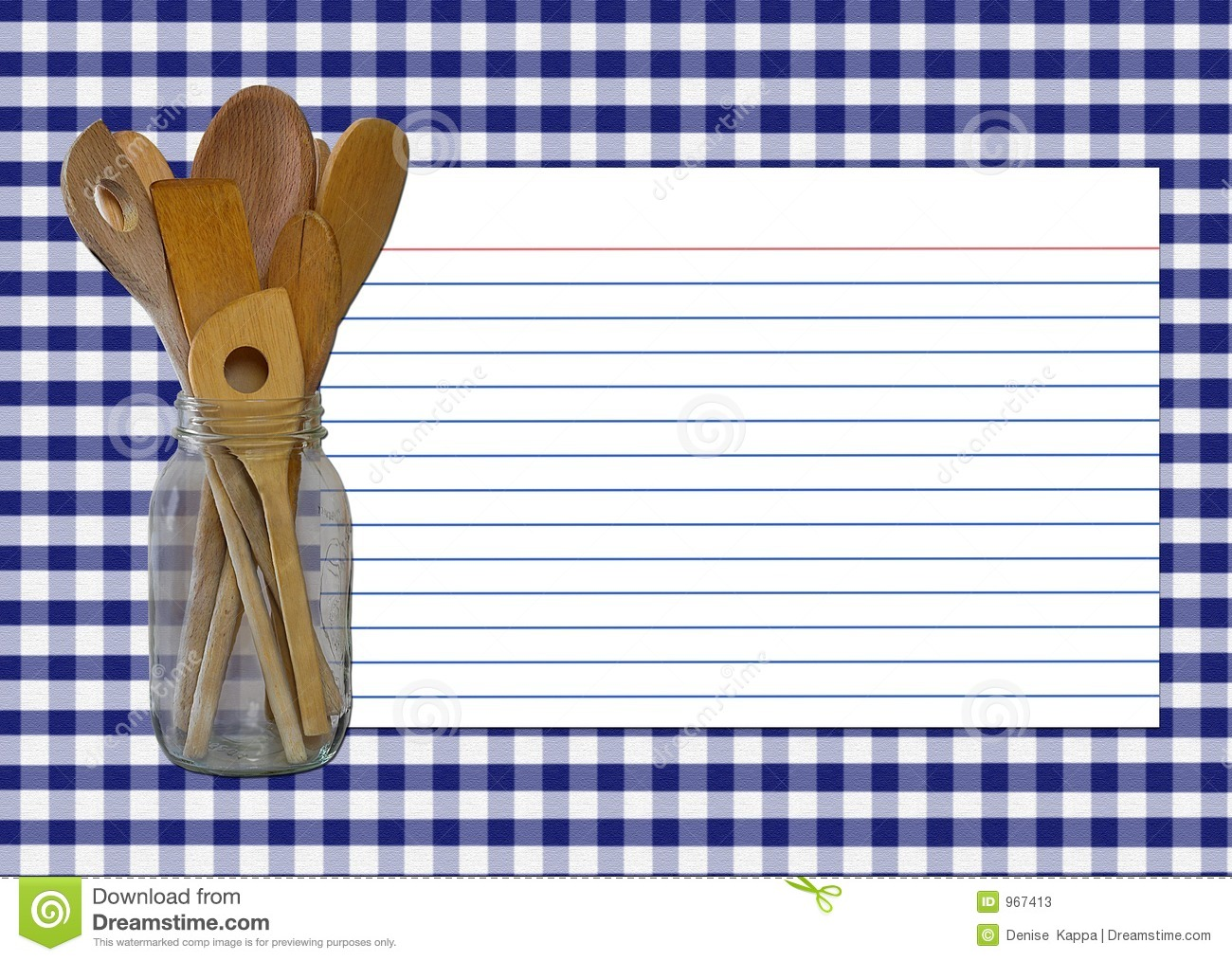 navy gingham recipe card stock image  image of fare  blue