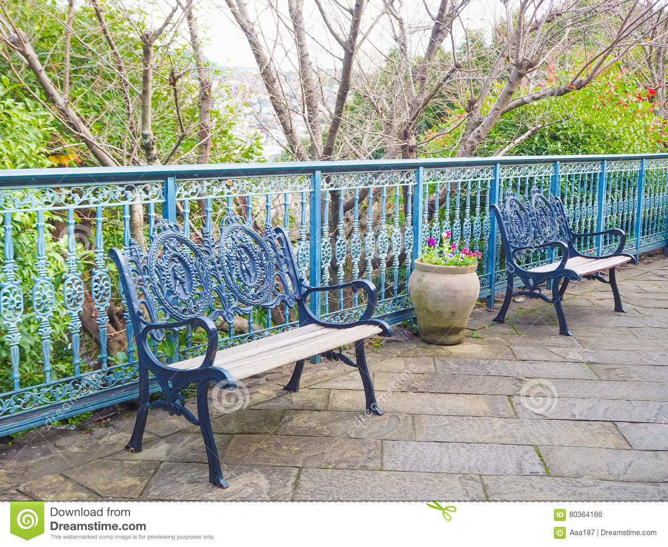 Navy Metal Bench In The Glover Garden Stock Photo Image Of Grass Beauty 80364166