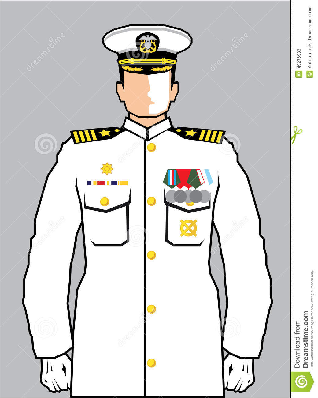 Navy Officer illustration clip-art eps.