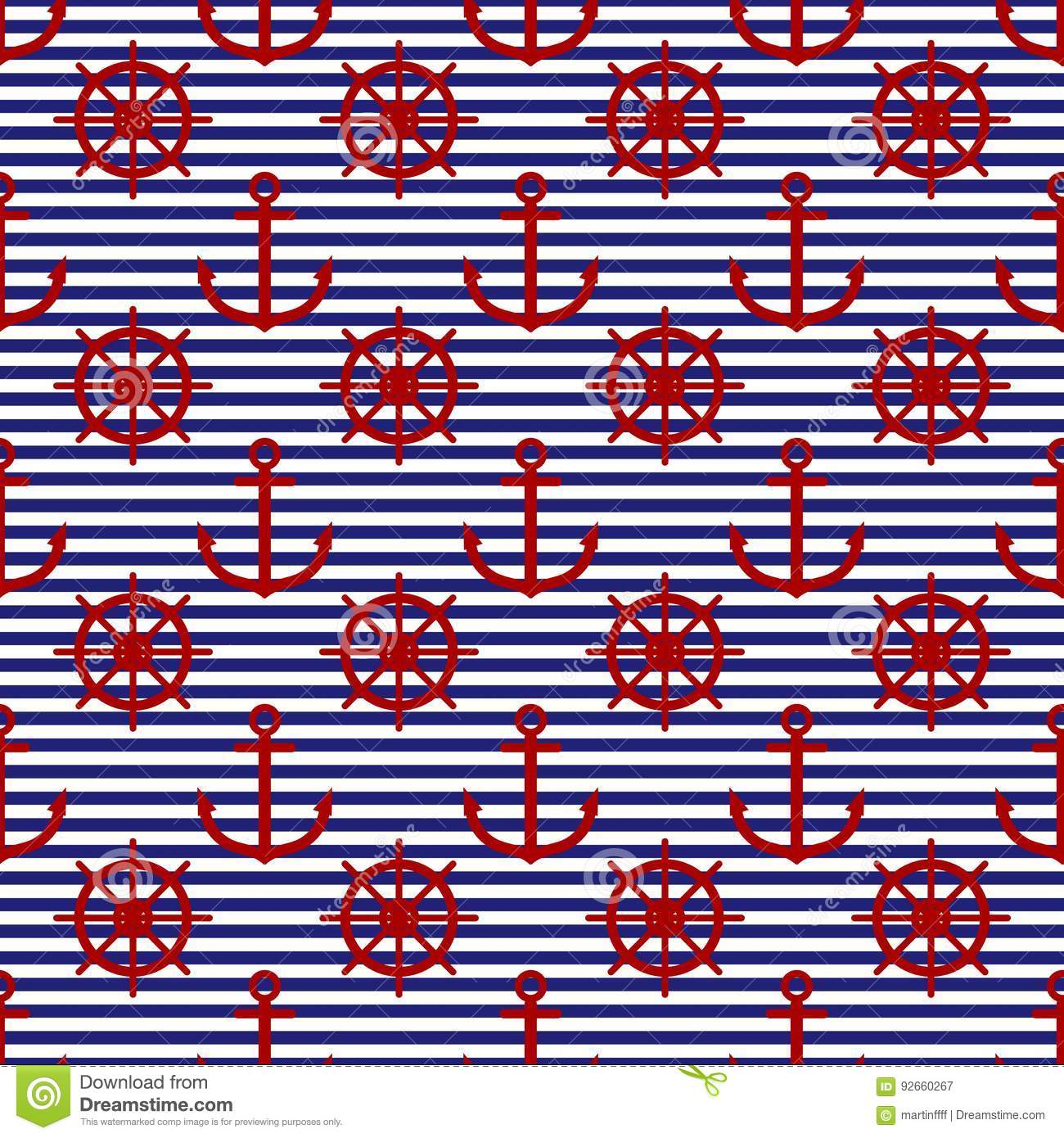 a182f7f2a05 Navy rudder and anchor on blue and white horizontal stripes seamless pattern