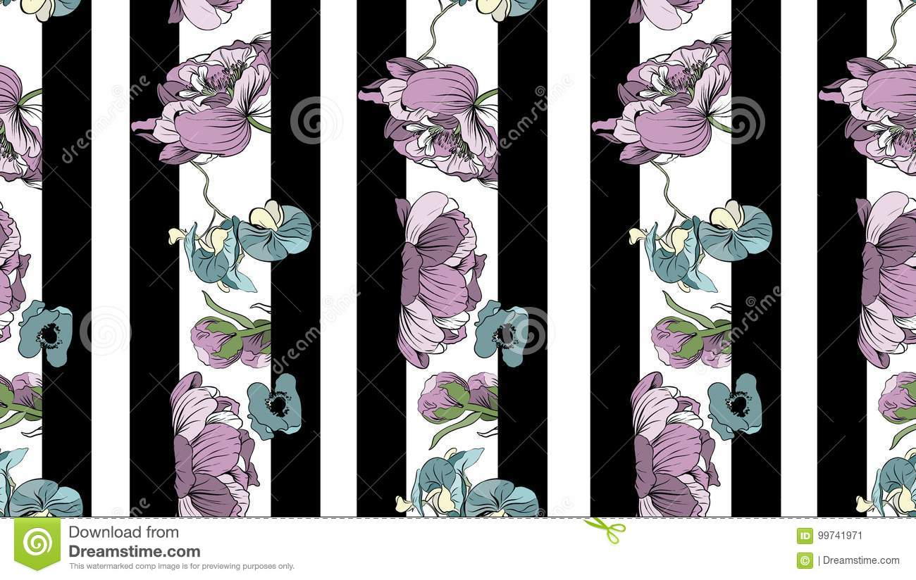 Navy striped print with bouquets of peony, orchids and poppies.