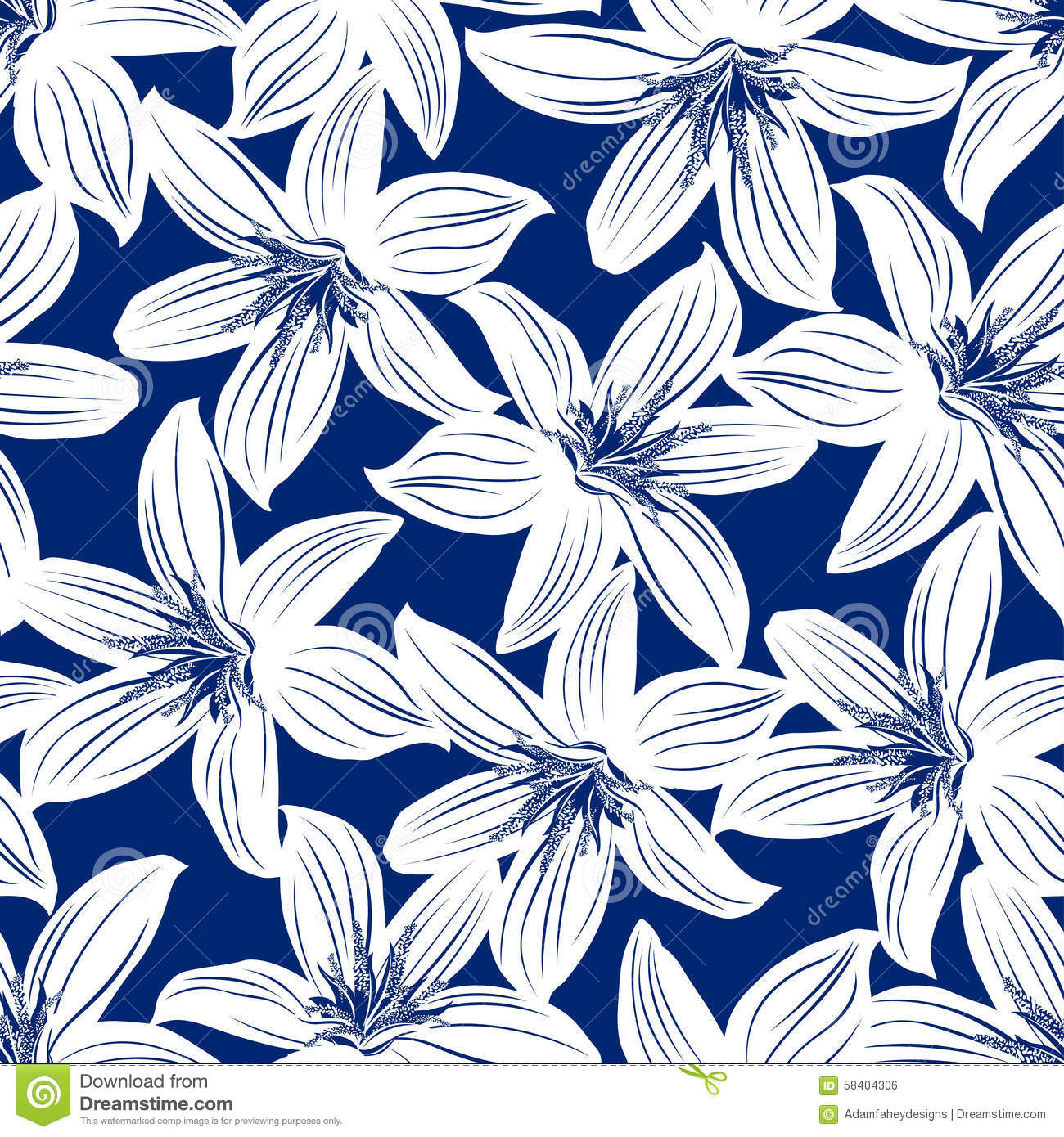 Navy And White Tropical Hibiscus Floral Seamless Pattern Stock