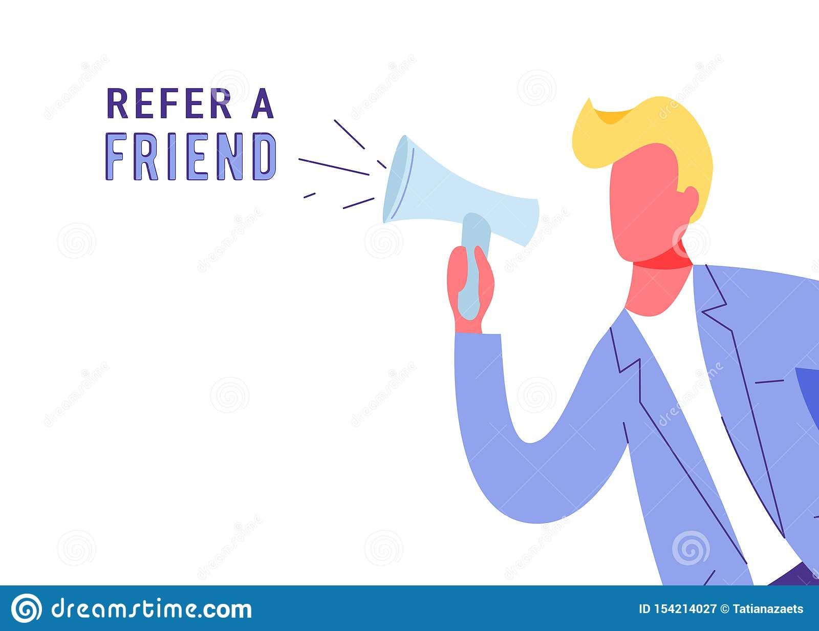 Nawiązywać do przyjaciela marketingowego wektorowego tło Biznesowego mężczyzny krzyk przy megafonem o lojalności, promocja, preze