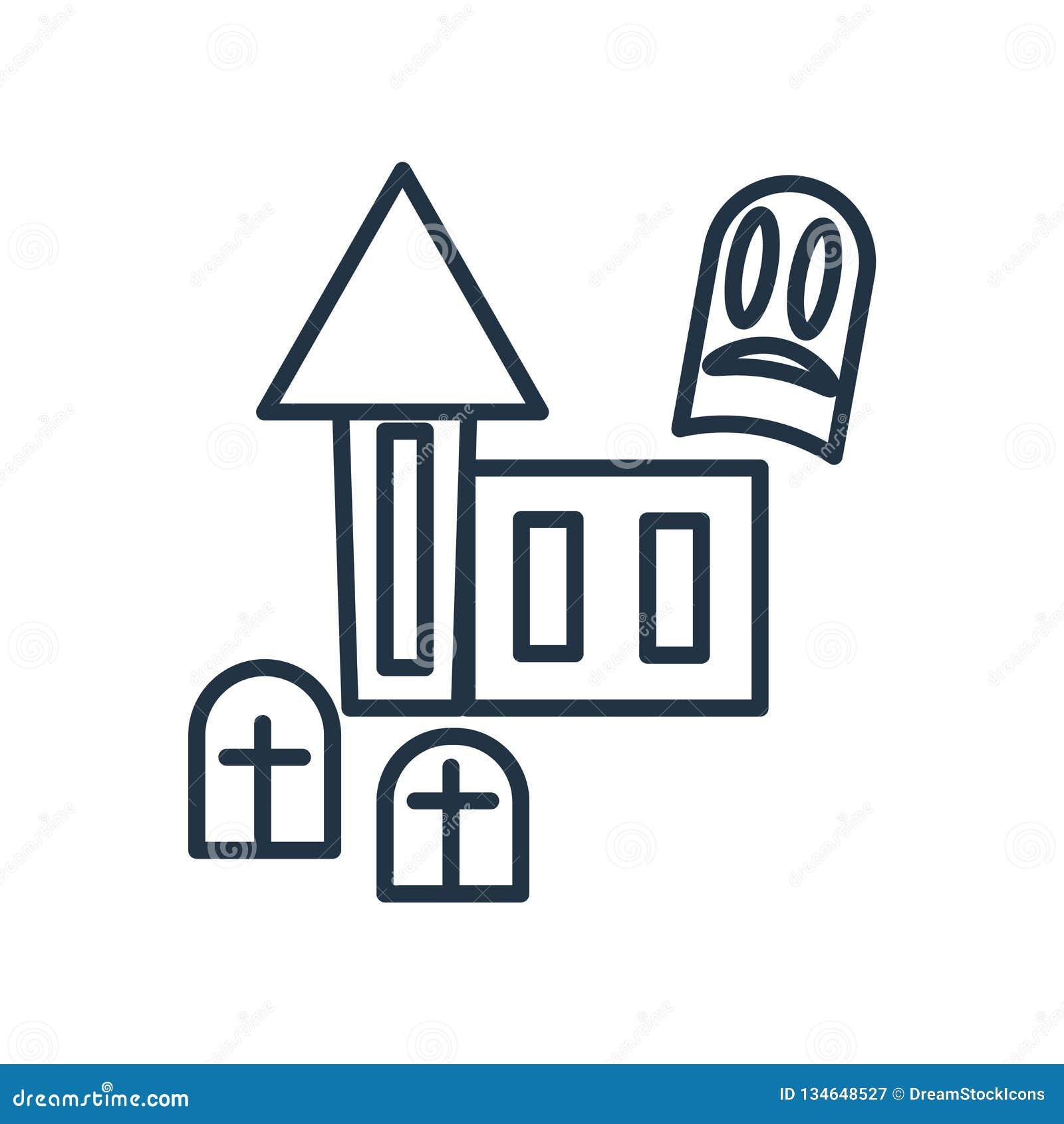 Nawiedzający domowy ikona wektor odizolowywający na białym tle, Nawiedzający domu znak