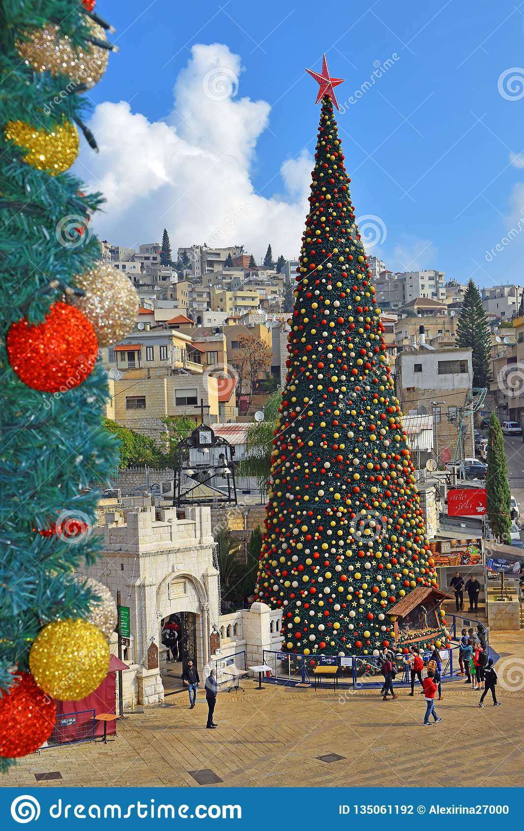 Weihnachten Orthodox.Merry Christmas In Nazareth Israel Editorial Photography Image Of
