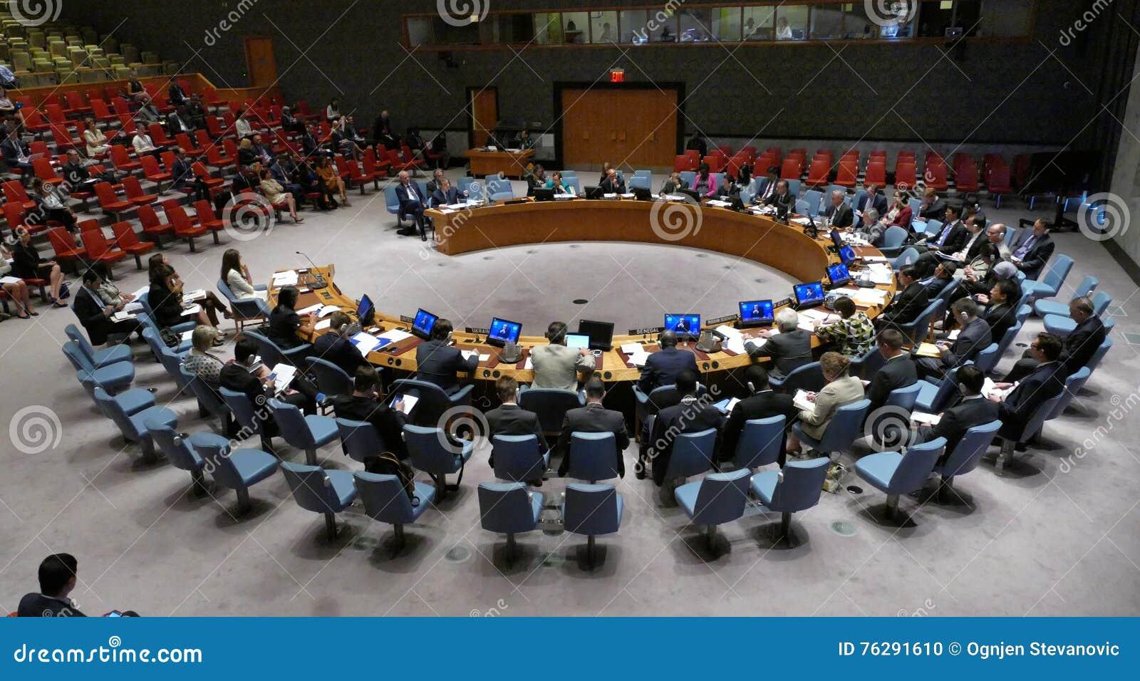 Nazioni Unite Di Riunione Del Consiglio Di Sicurezza 7760 Immagine Editoriale