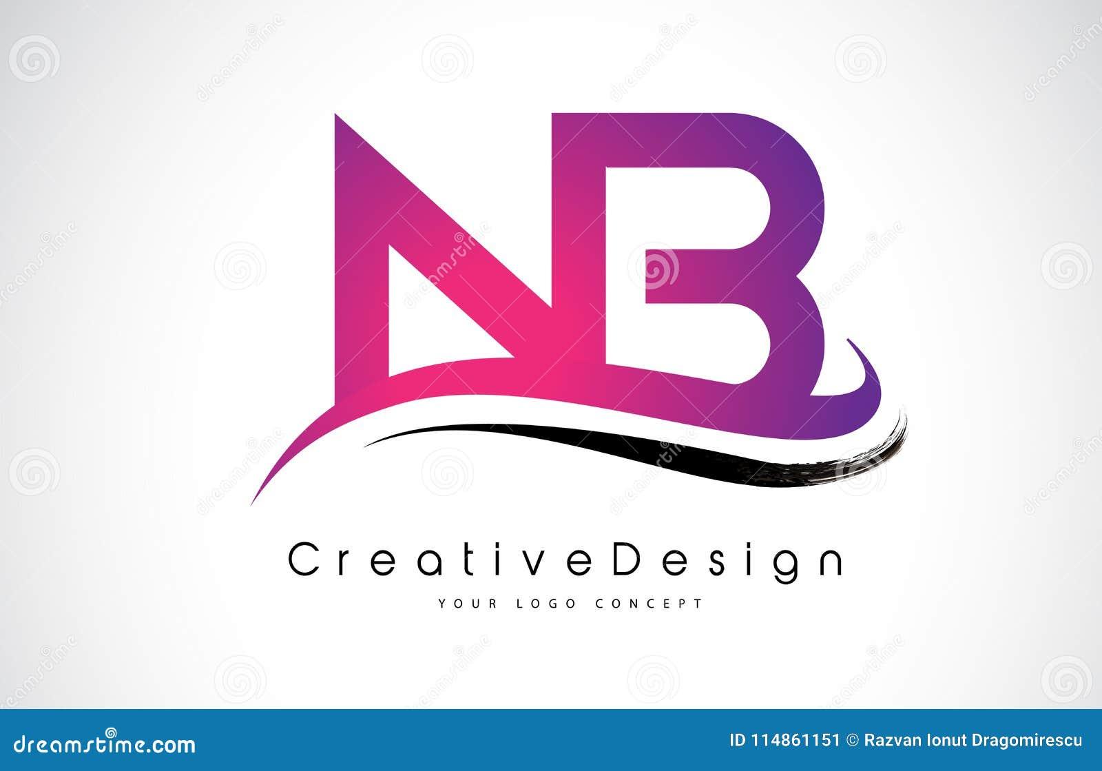 NB N B Letter Logo Design. Creative Icon Modern Letters Vector L ...