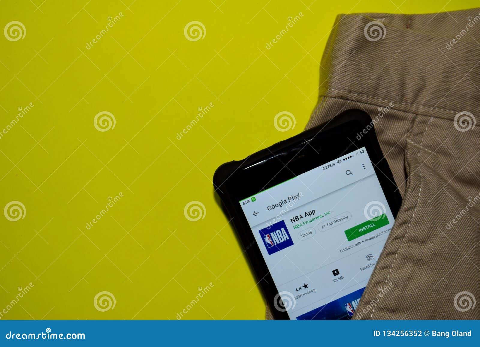 NBA-bärare-applikation på den Smartphone skärmen