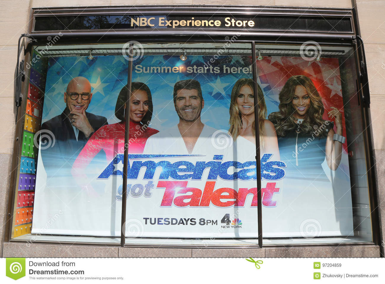bb5d32a2ca1 Editorial Stock Photo. NBC Experience Store window display decorated with  America`s Got Talent logo in Rockefeller Center