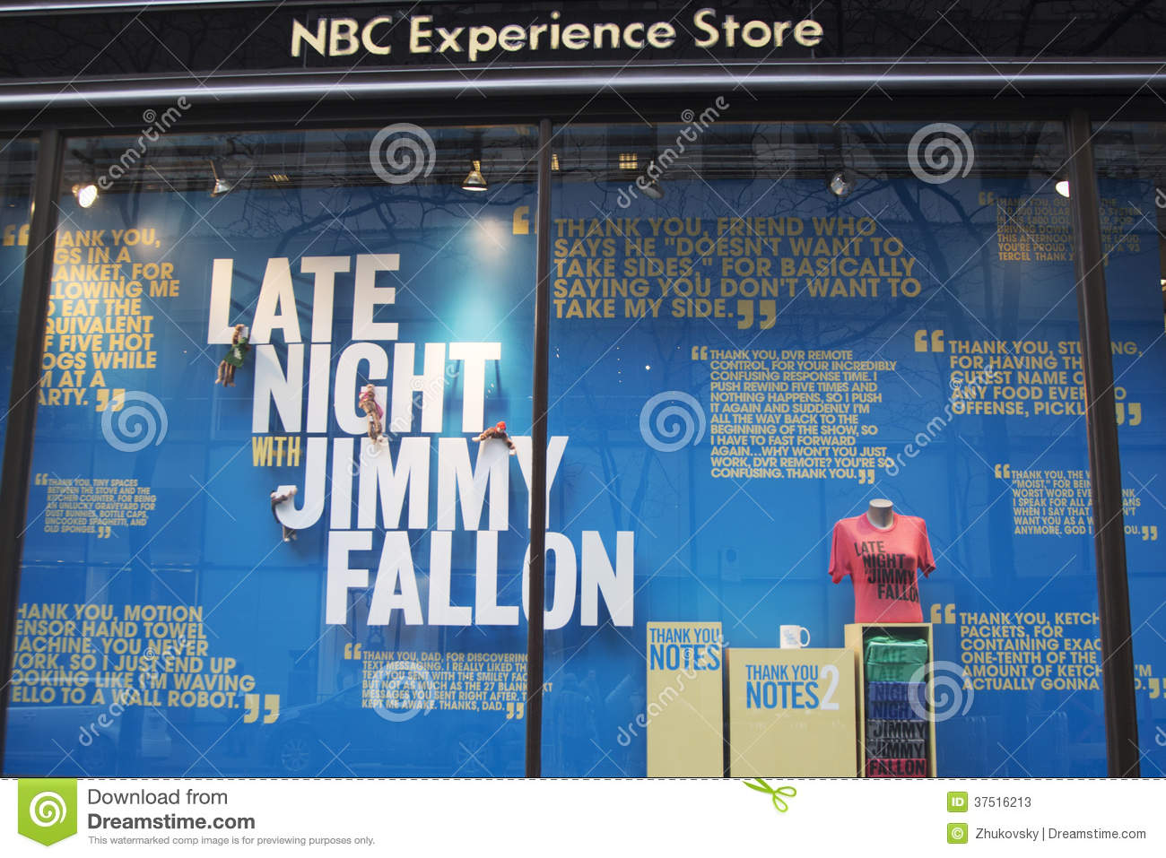 5b97cc95df8 Editorial Stock Photo. NBC Experience Store window display decorated with  Late Night with Jimmy Fallon logo in Rockefeller Center