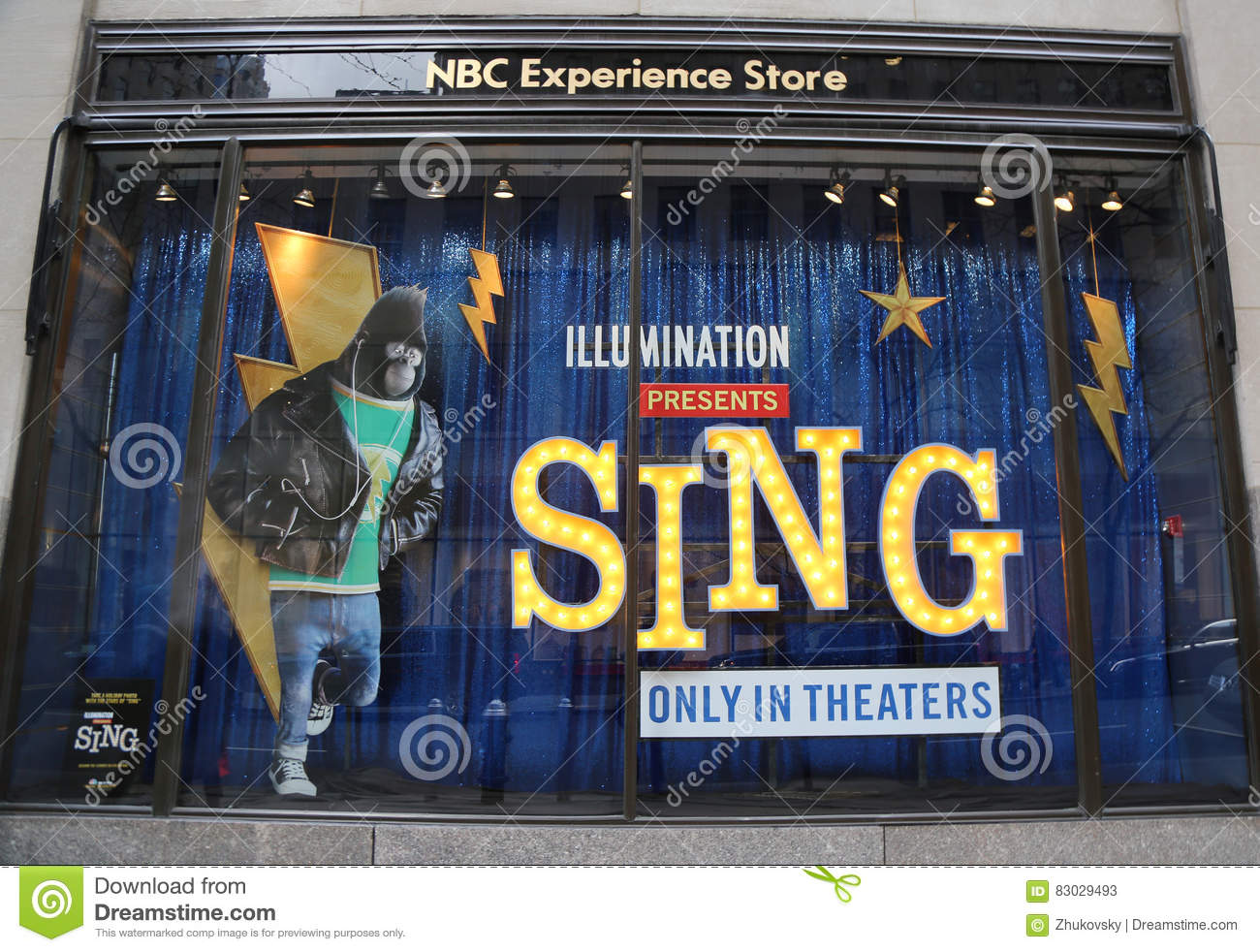 859c0f4d0b6 Editorial Stock Photo. NBC Experience Store window display decorated with  Sing film promotion by Illumination Entertainment in Rockefeller Center