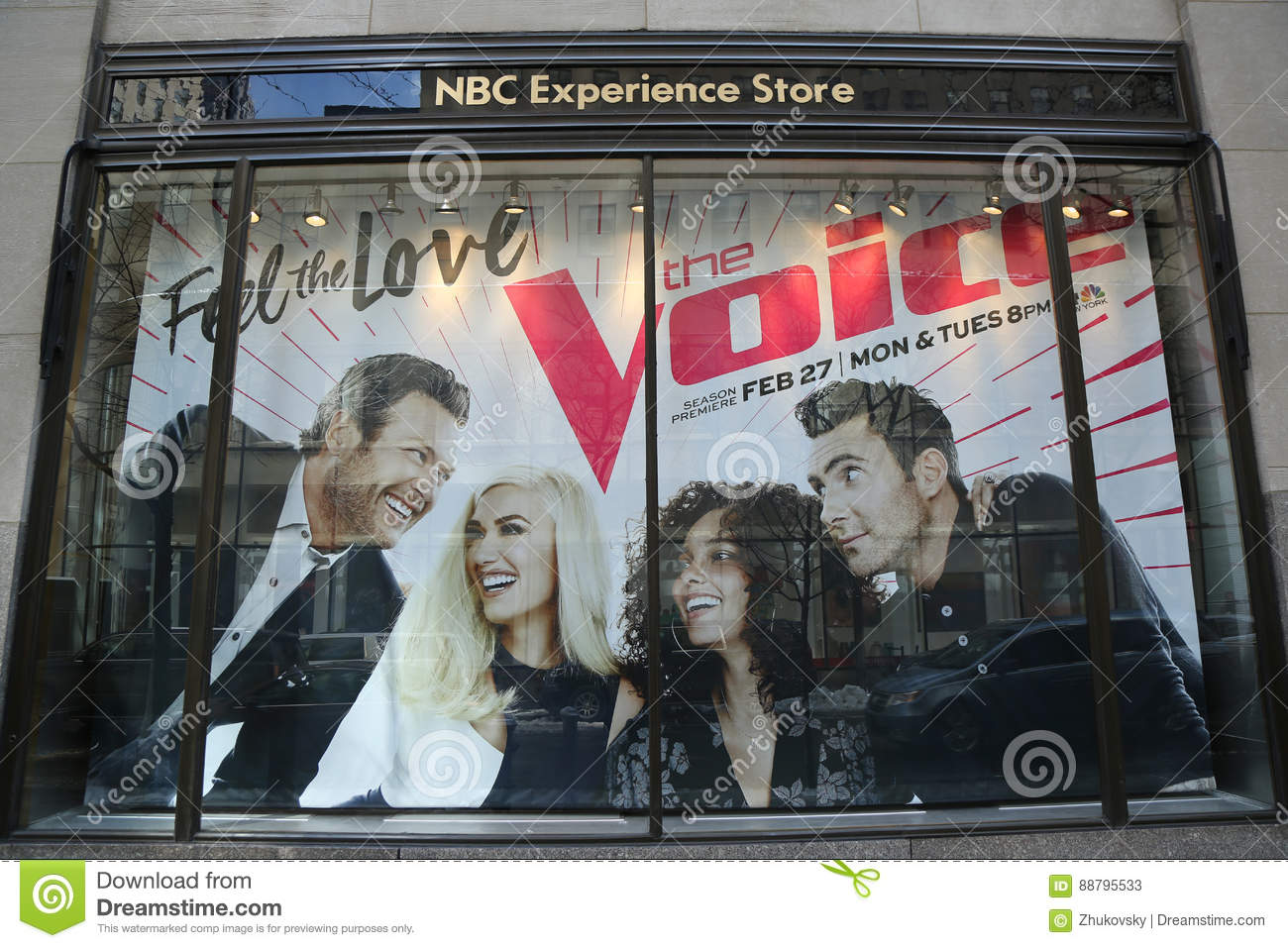 2fb5ad64ac2 Editorial Stock Photo. NBC Experience Store window display decorated with  The Voice logo in Rockefeller Center