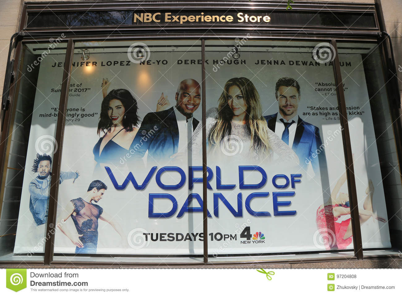 e7347407dfa Editorial Stock Photo. NBC Experience Store window display decorated with  World of Dance logo in Rockefeller Center in Midtown