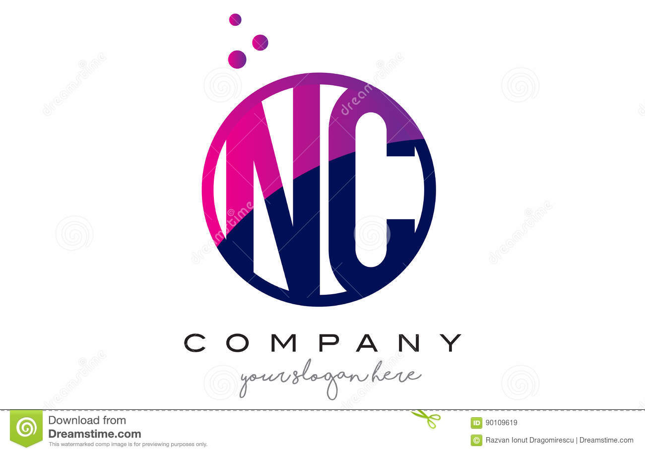 NC N C Circle Letter Logo Design With Purple Dots Bubbles Stock ...