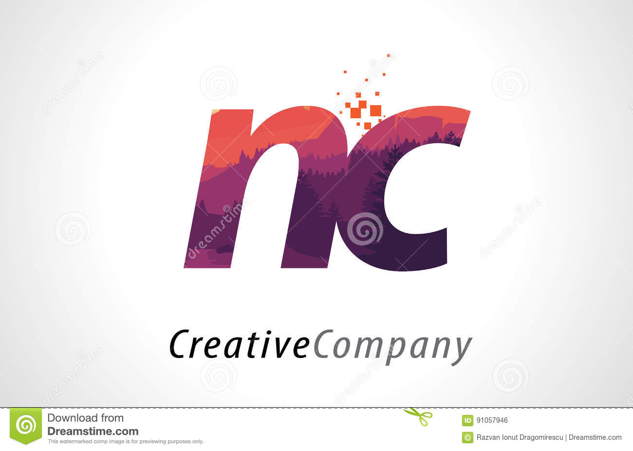 NC N C Letter Logo Design With Purple Forest Texture Flat Vector ...