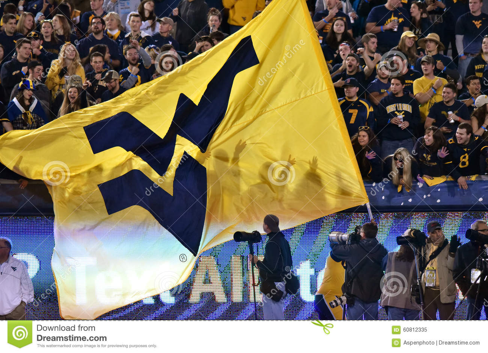 west virginia flag pregame at a football game editorial photo 21965045. Black Bedroom Furniture Sets. Home Design Ideas