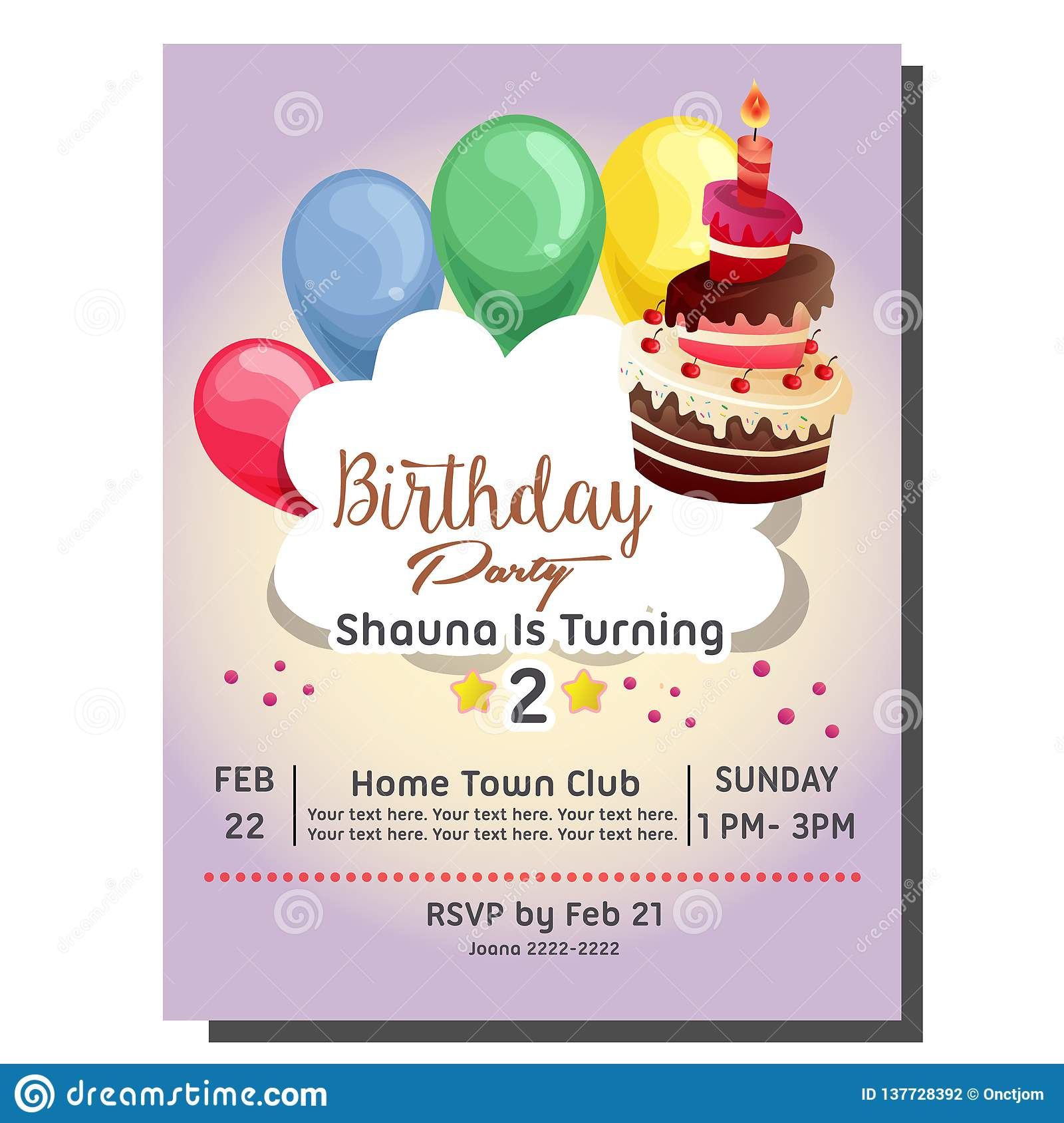 2nd Birthday Party Invitation Card With Balloon And Candle