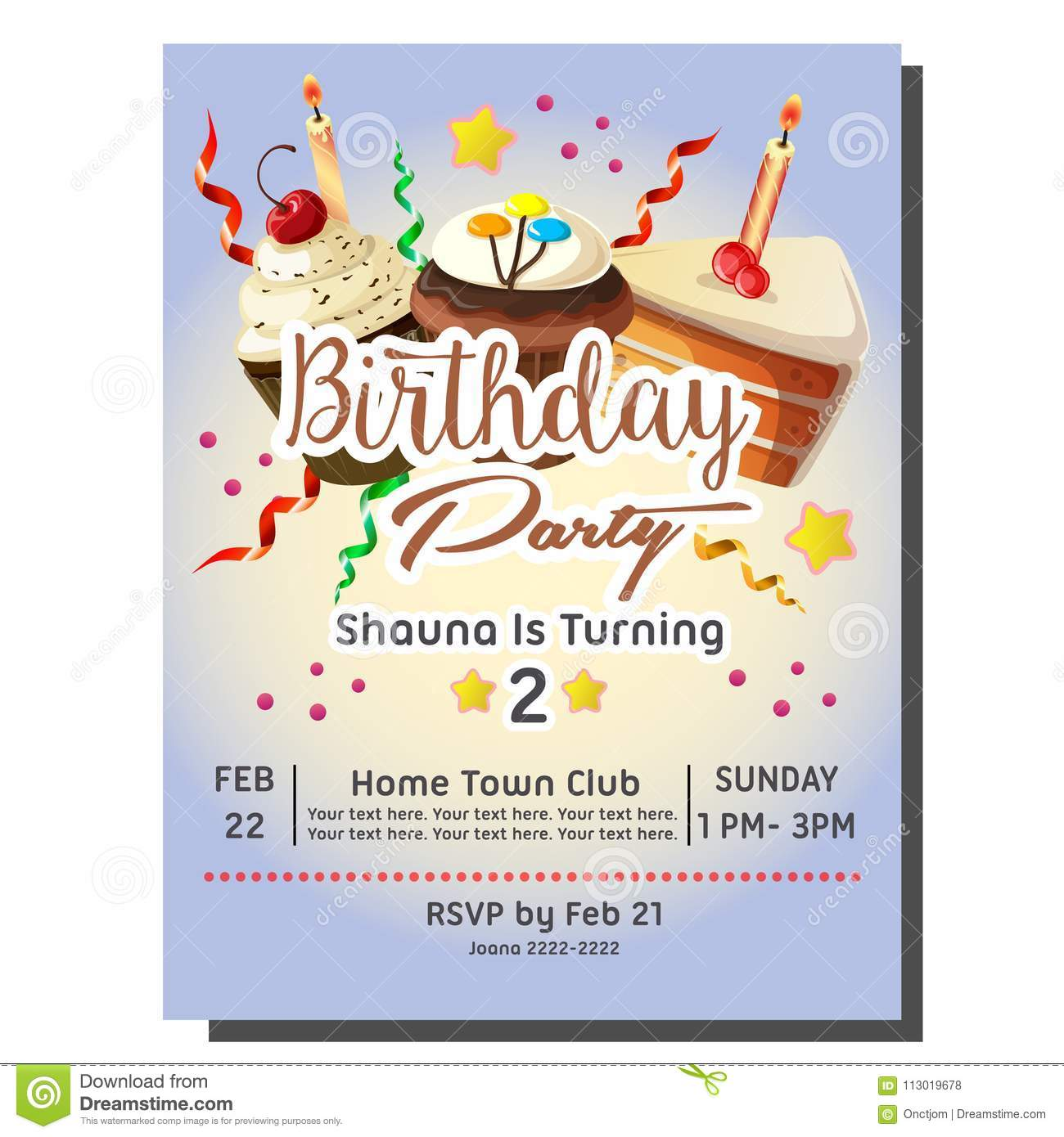 2nd Birthday Party Invitation Card Template With Cupcakes