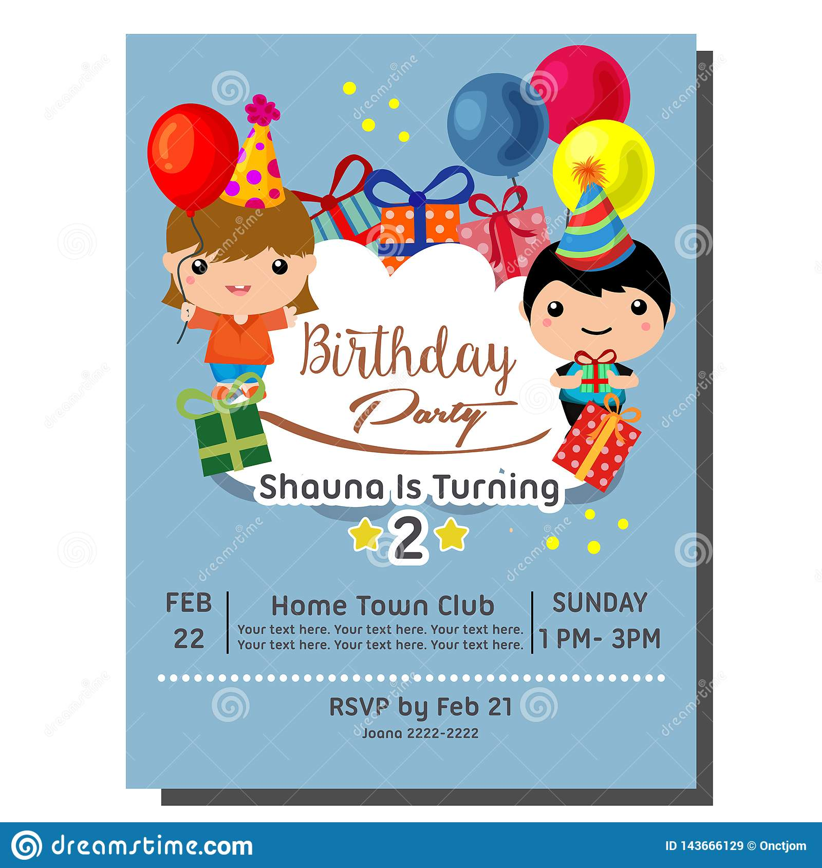 2nd Birthday Party Invitation Card With Cute Kid Stock