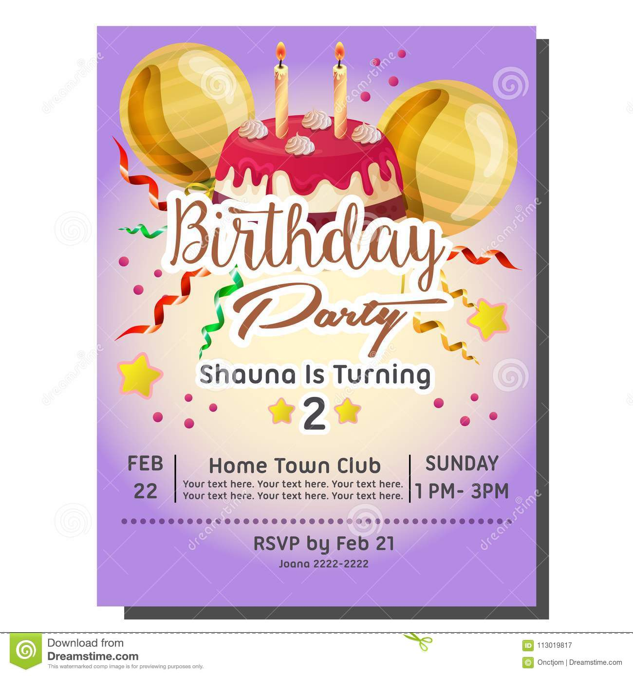 2nd Birthday Party Invitation Card With Delicious Tart