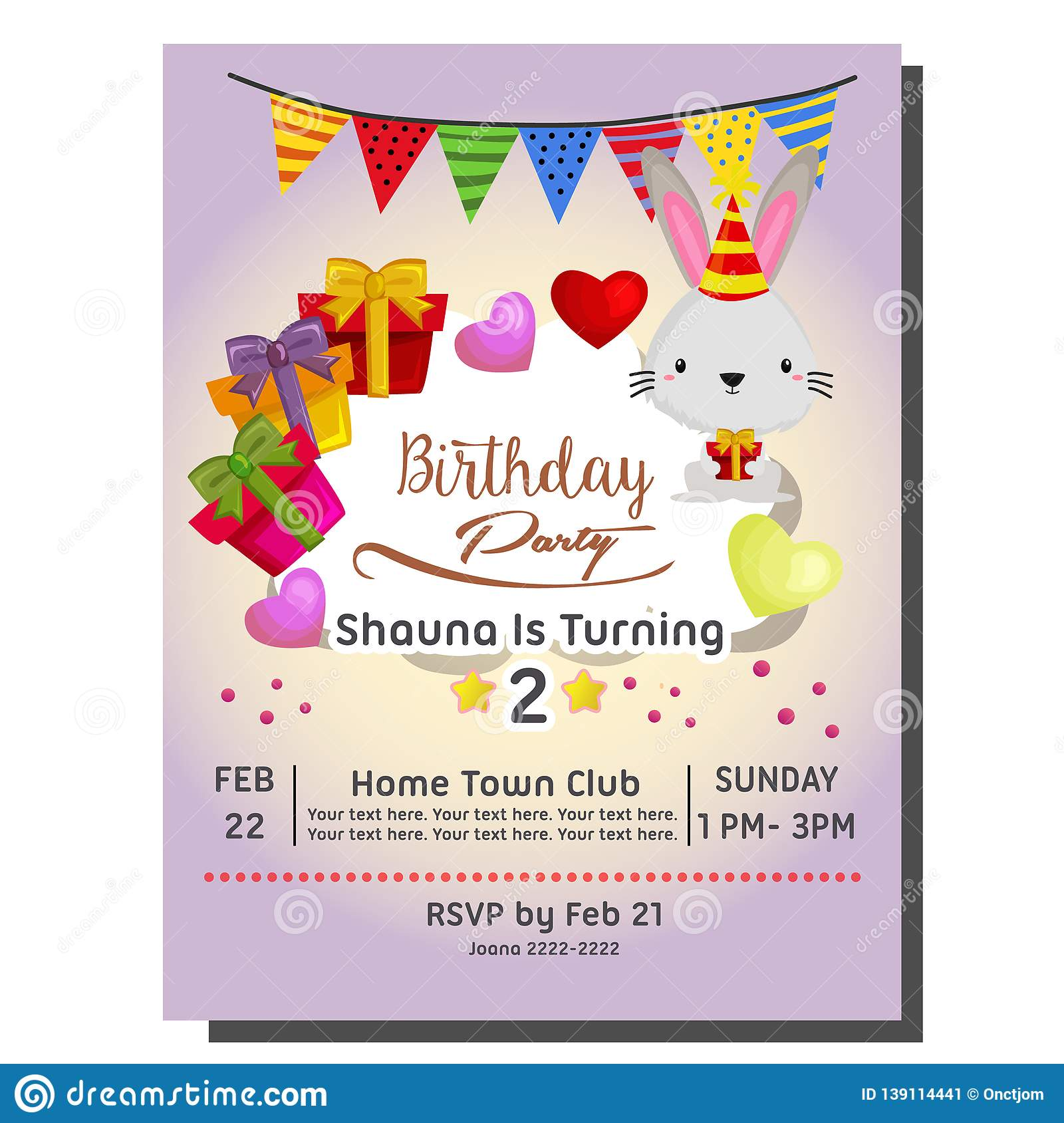 2nd Birthday Party Invitation Card With Rabbit And Present Stock